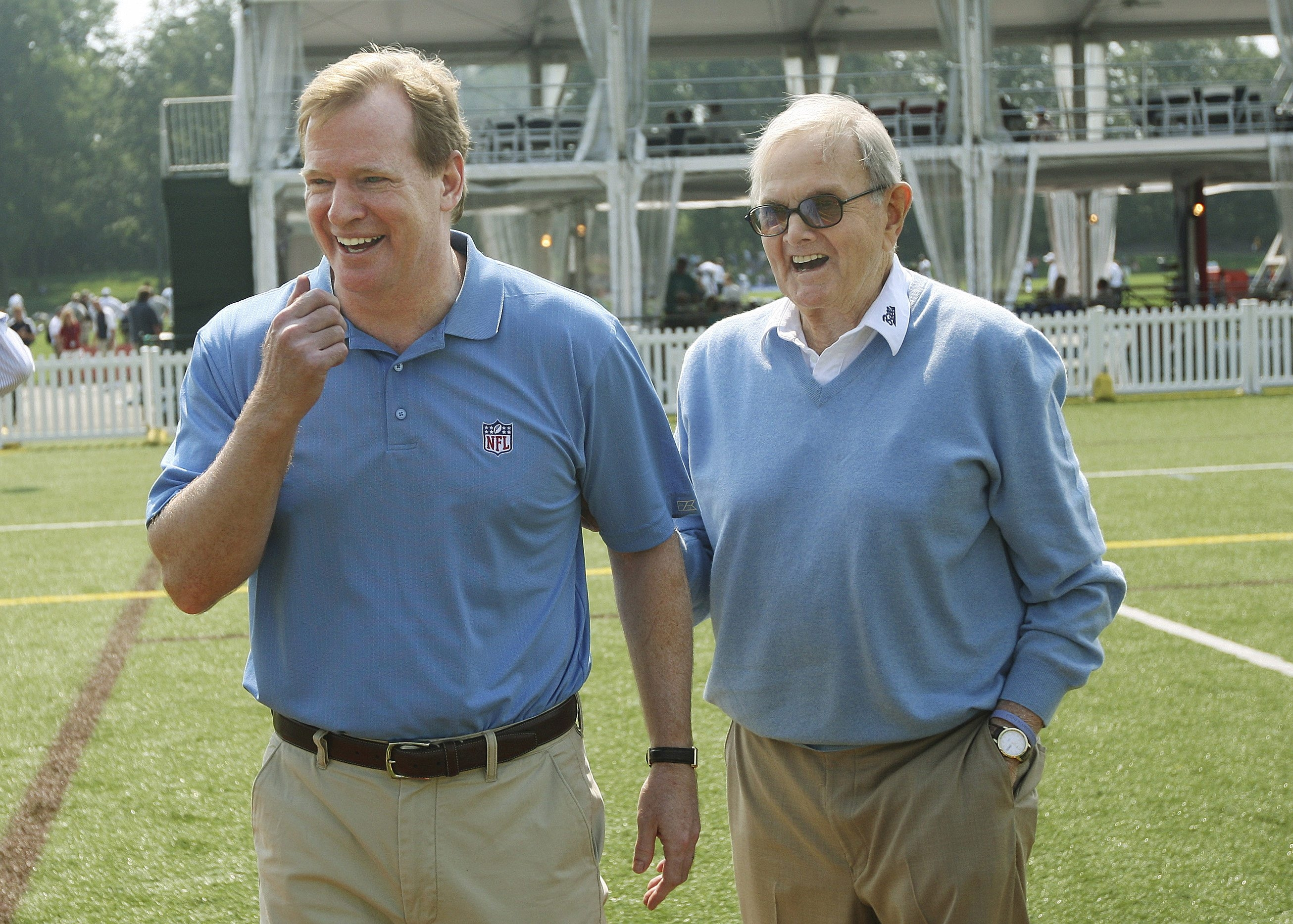 NFL Commissioner Roger Goodell,  left, would love to put a team back in Los Angeles, which lost the Rams and Raiders after the 1994 season. That worries Bills fans after the passing of owner Ralph C. Wilson Jr., right.