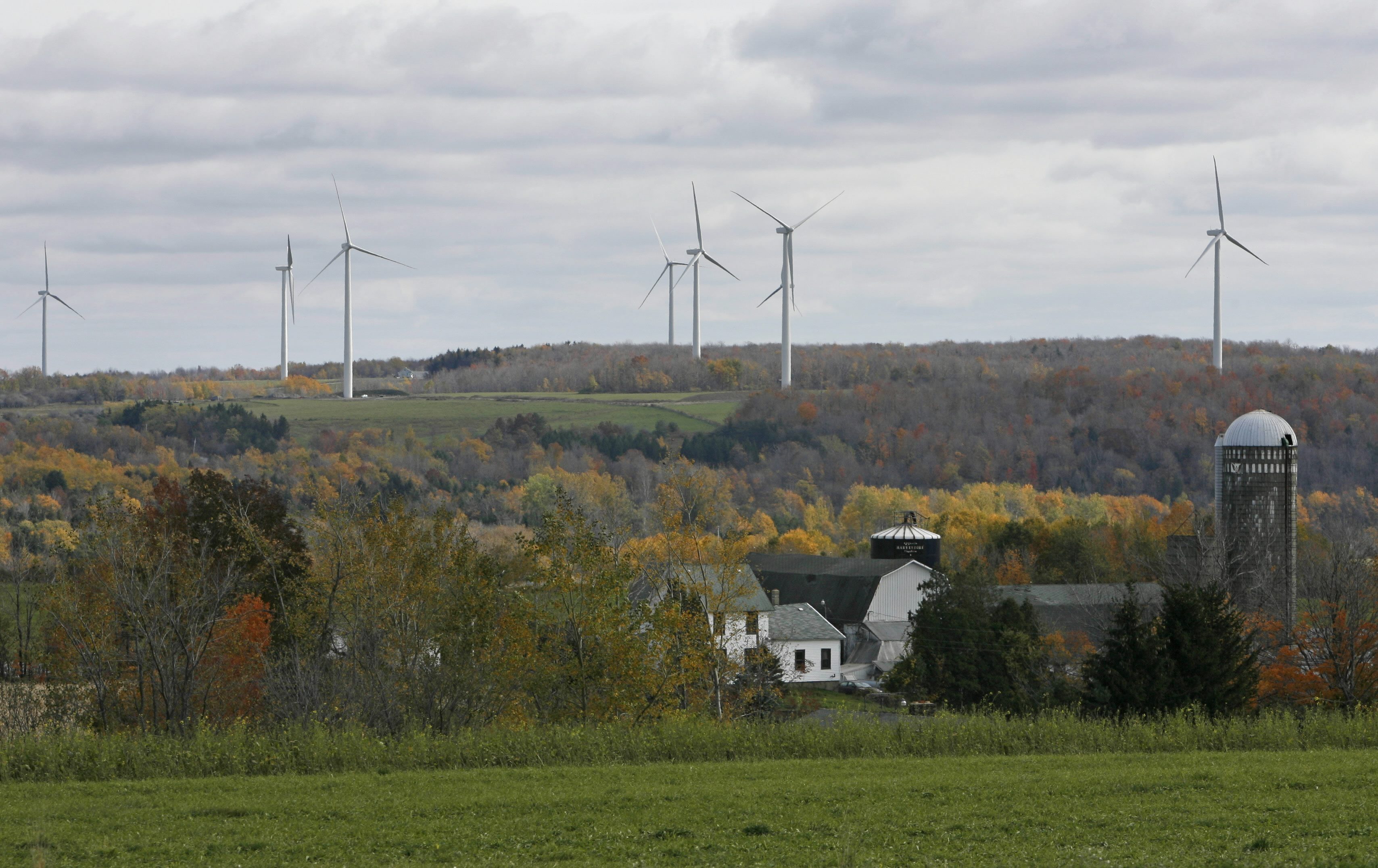 Wind turbines line the country hillside in the town of Wethersfield, Wyoming County. A proposed wind farm in the Cattaraugus County Town of Allegany is going back to the drawing board.