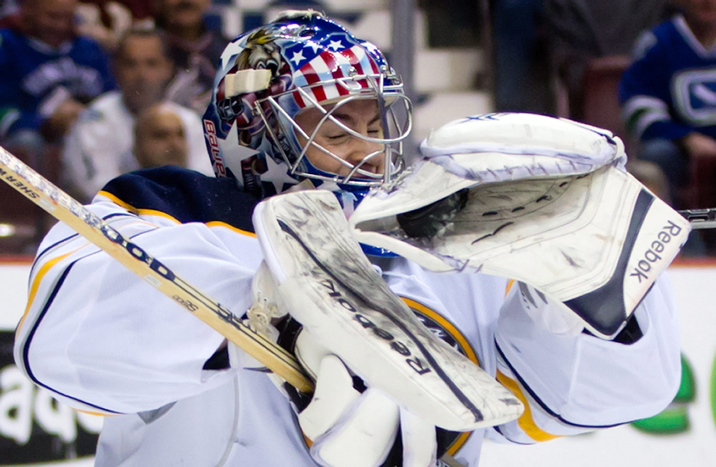 Buffalo Sabres' goalie Nathan Lieuwen got to play before family and friends in Vancouver on Sunday night.