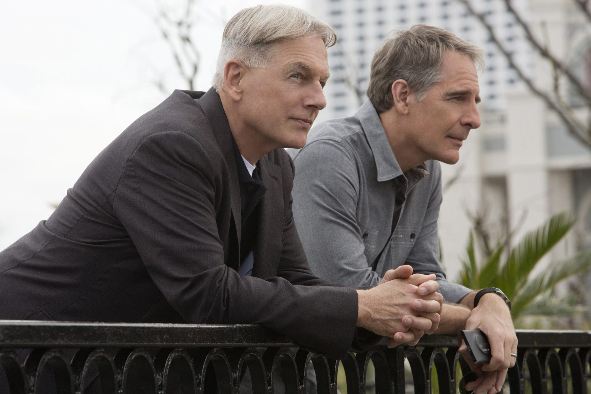 """Mark Harmon, left and Scott Bakula in a scene from """"NCIS,"""" the most-watched scripted series. It has a median viewer age of 61."""
