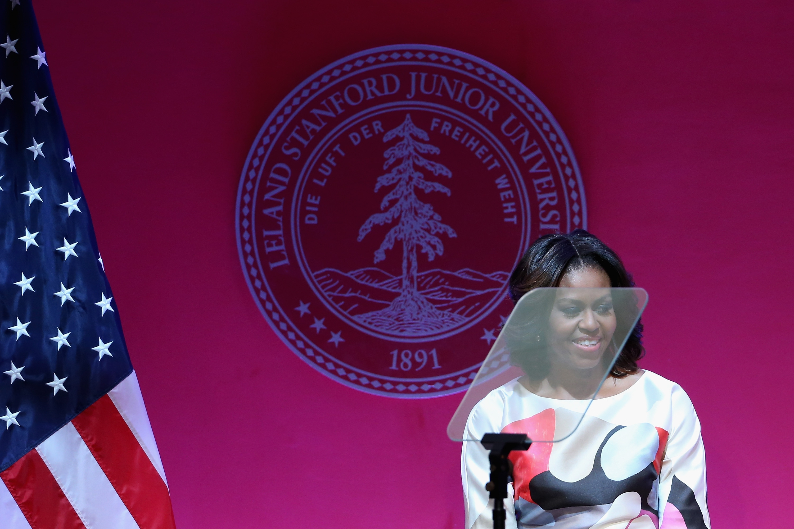 Michelle Obama speaks to several hundred Chinese and American students at the Stanford Center at Peking University in Beijing on Saturday.