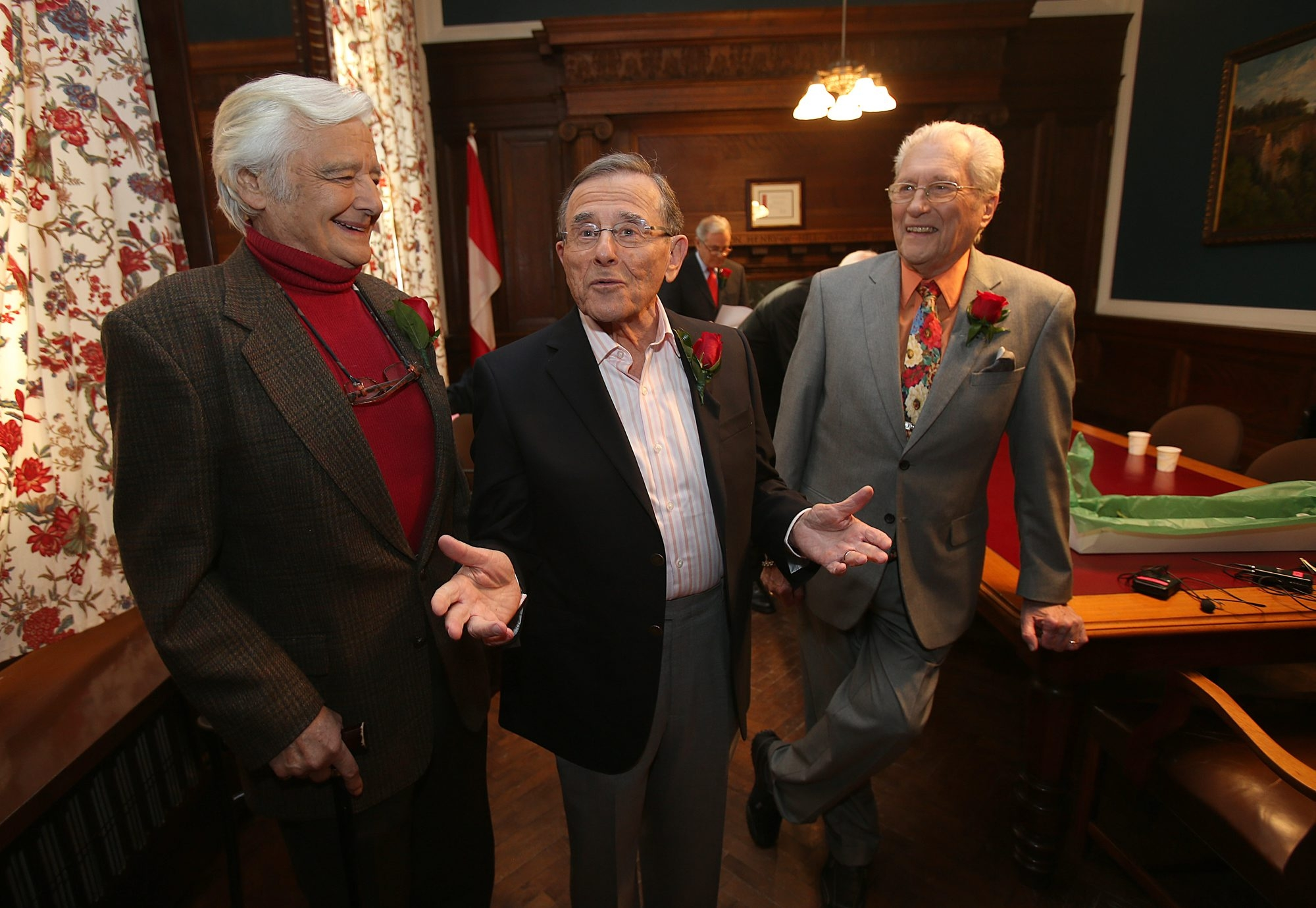 From left, Rick Azar, Irv Weinstein and Tom Jolls, former television journalists for WKBW-TV in Buffalo, chat backstage before appearing in the 'Giants of Buffalo' program at the Buffalo History Museum Friday. (Charles Lewis/Buffalo News)