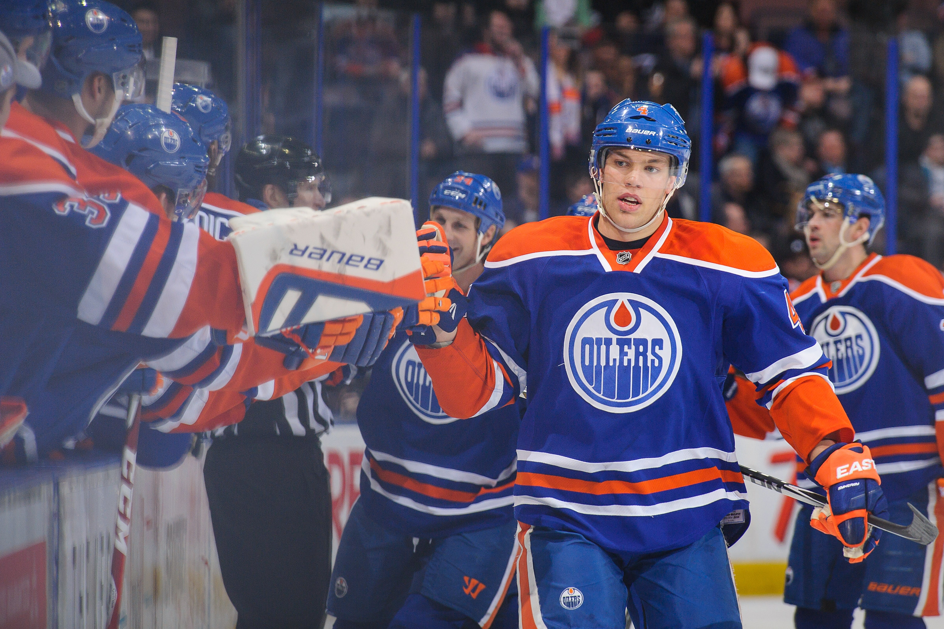 Taylor Hall, the Oilers No. 1 pick in 2010, celebrates after scoring against the Sabres on Thursday at Rexall Place.