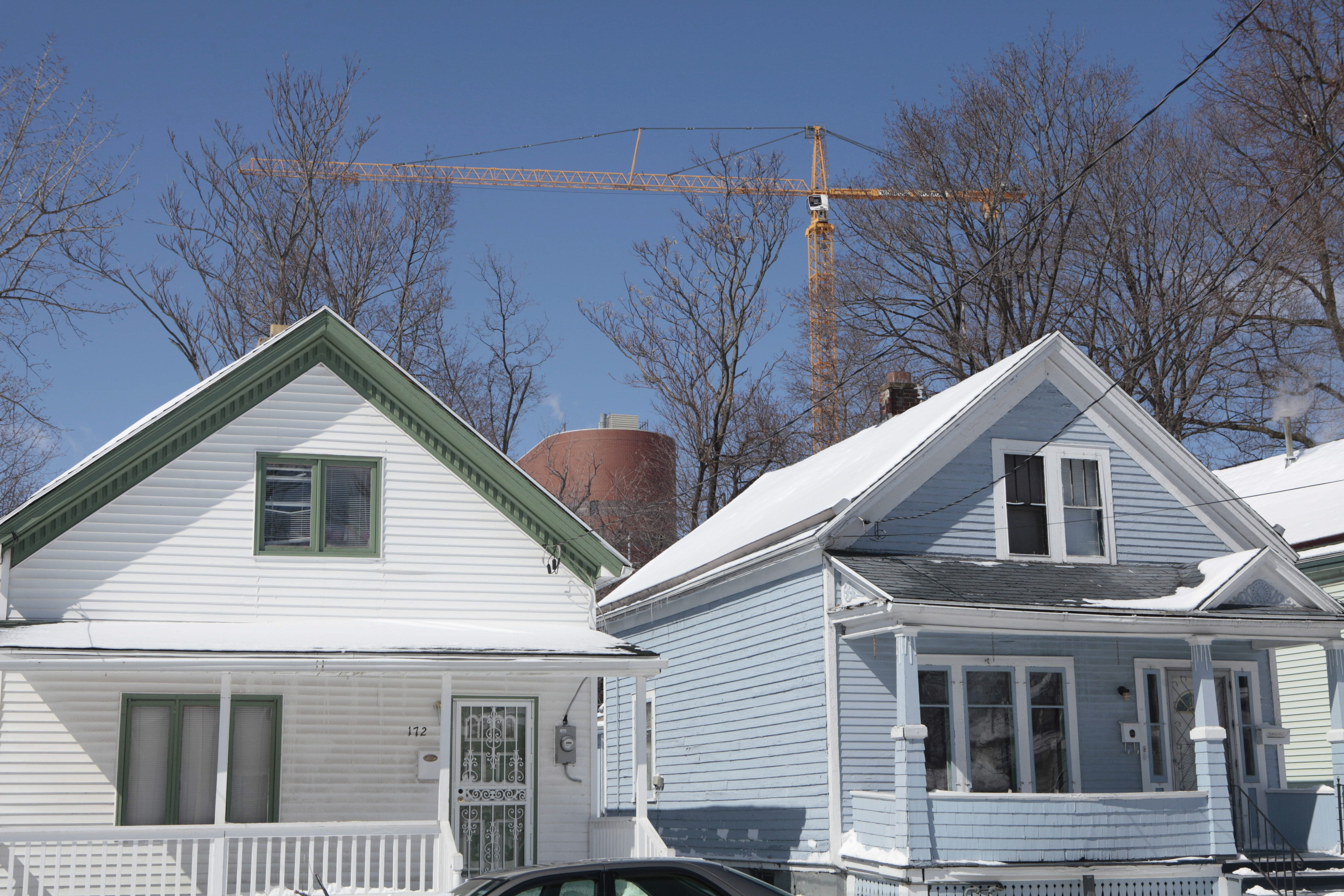 Construction on the Medical Campus near the Fruit Belt should raise property values and also taxes on the homeowners. (Derek Gee/Buffalo News)