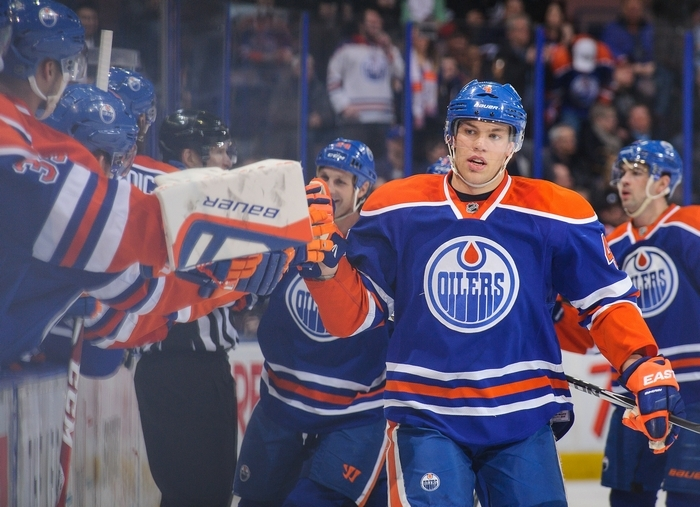 Taylor Hall, the Oilers No. 1 pick in 2010, celebrates after scoring against the Sabres on Thursday at Rexall Place. (Getty Images)