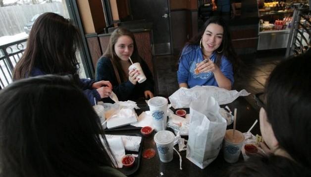 Elmwood Taco and Subs patrons enjoy a meal.