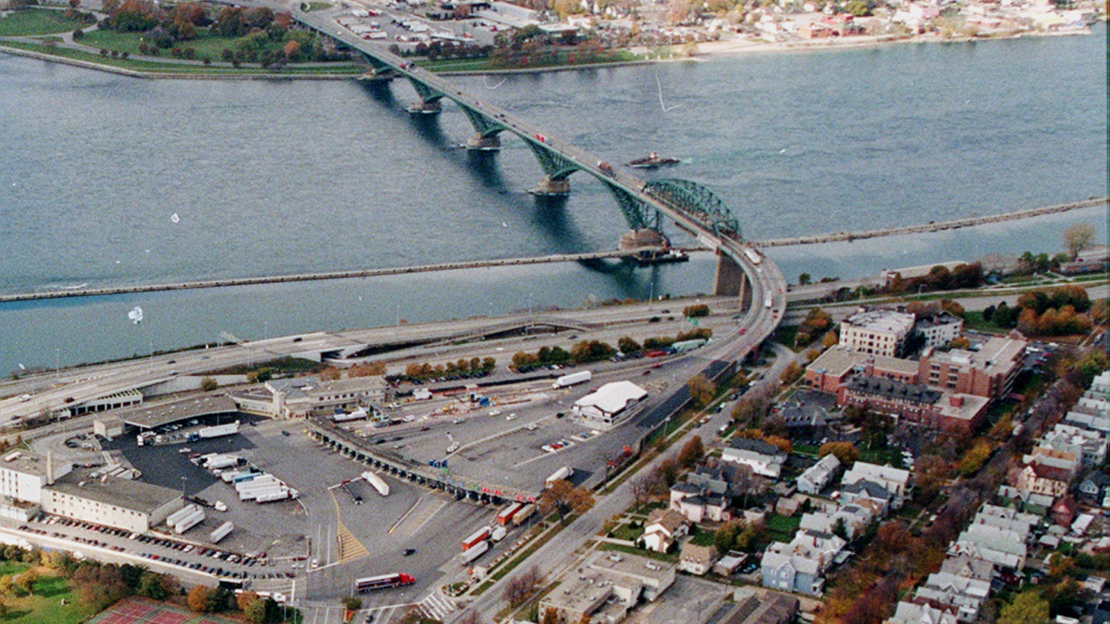 A twin span to the Peace Bridge, pictured here in fall 1998, has long been discussed. (Buffalo News file photo)