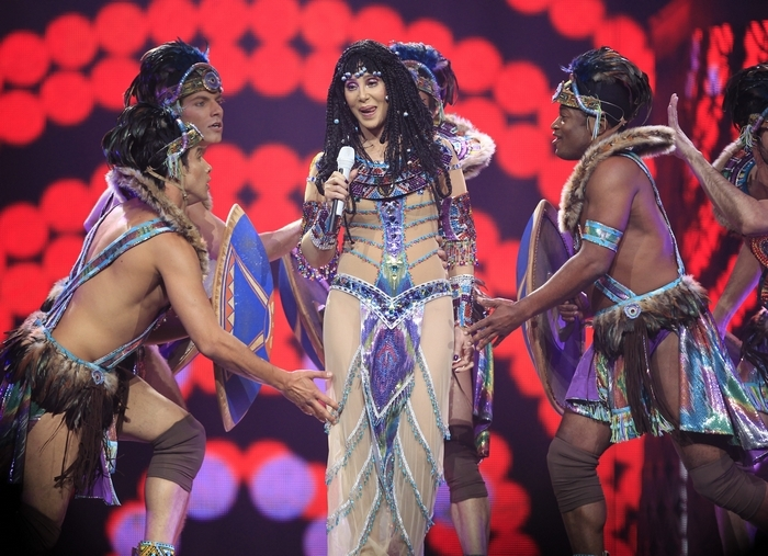 Cher, clad in, performs on the D2K Tour at the First Niagara Center on Wednesday. (Harry Scull Jr. /Buffalo News)