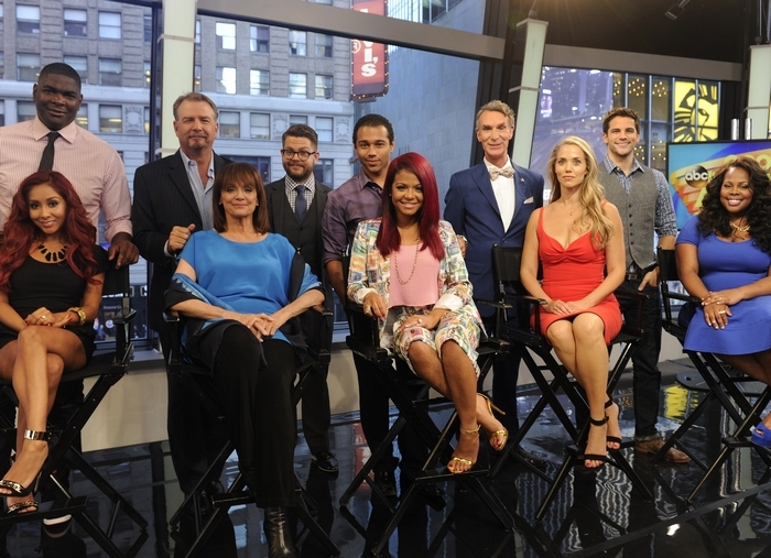 """Celebrity dancers from left, NFL wide receiver Keyshawn Johnson, TV personality Nicole """"Snooki"""" Polizzi, comic Bill Engvall, actress Valerie Harper, TV personality Jack Osbourne, actor Corbin Bleu, singer-actress Christina Milian, Bill Nye, the """"Science Guy,"""" actress Elizabeth Berkley, actor Brant Daugherty, actress Amber Riley and actress Leah Remini."""