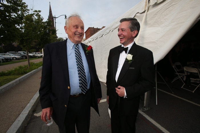 Playwright A.R. Gurney, left, chats with Curtain Up! Chairman Joseph Demerly upon his arrival at Curtain Up! festivities on Main Street in Buffalo on Friday. (Photos by Robert Kirkham/Buffalo News)