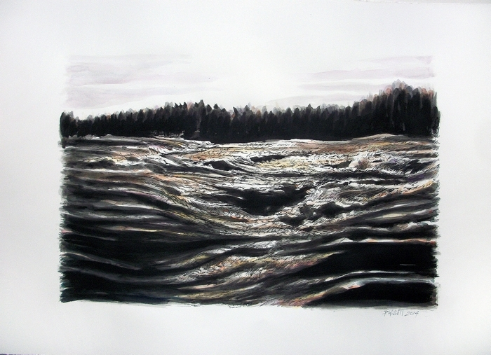 """Upper Niagara Rapids,"" a painting by Patrick Willett, is in an exhibition of the artist's work opening Friday in Studio Hart."