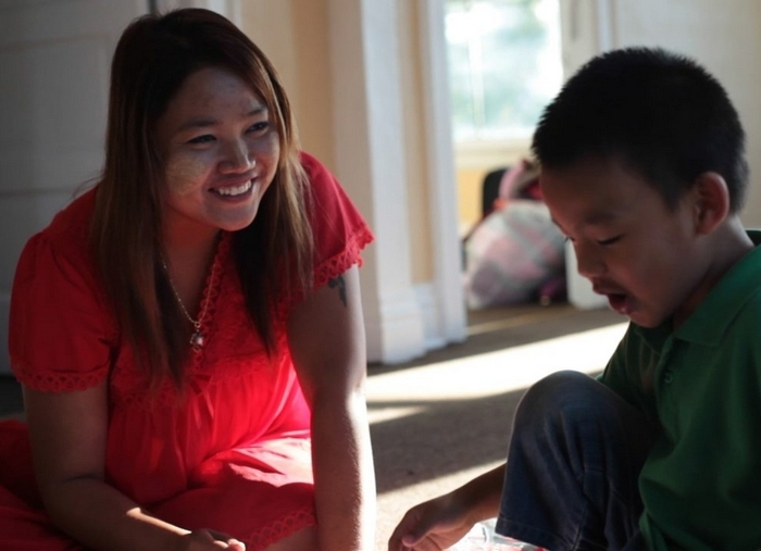"Susu May and her son Hein appear in the documentary ""Mingalaba/Where Are You Going?"" at Squeaky Wheel through March 15."