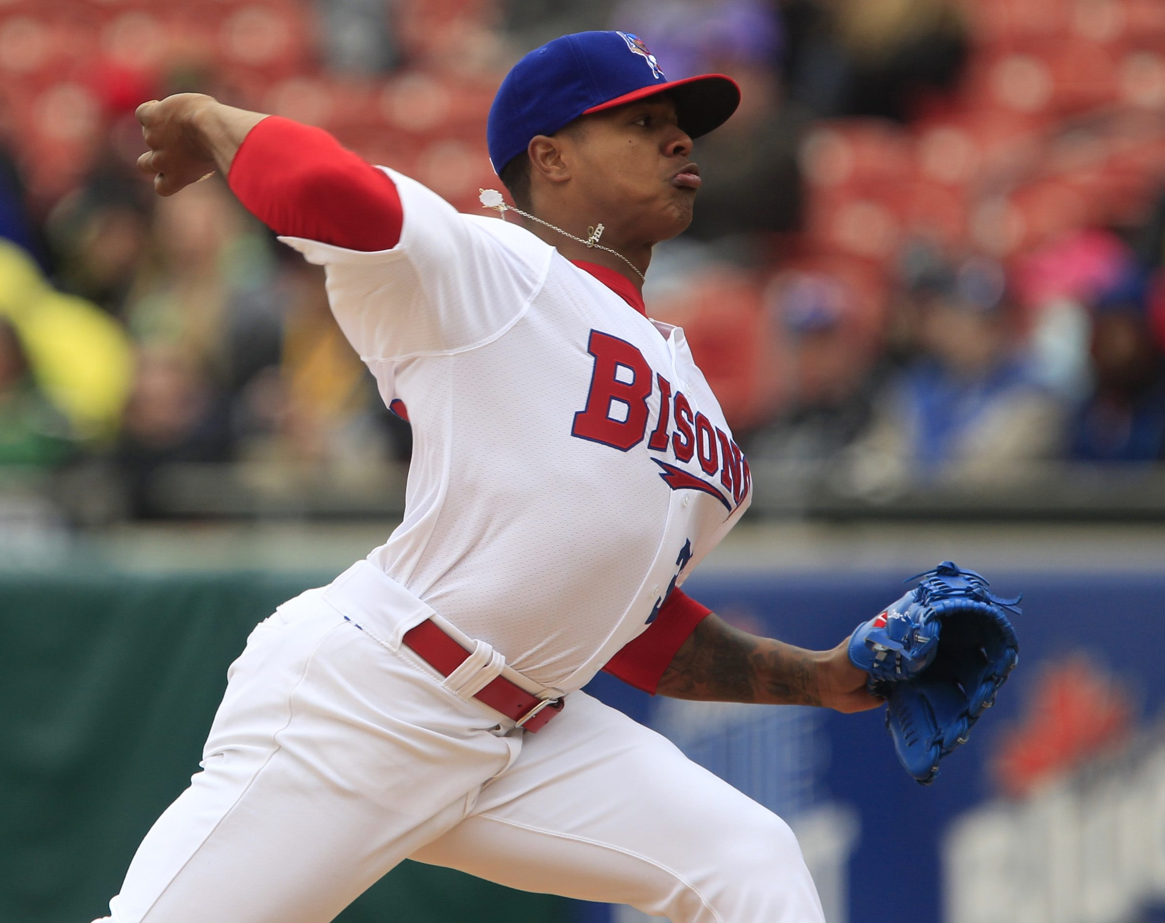 Bisons pitcher Marcus Stroman tossed a no-hit six-inning gem Tuesday against Louisville, including 10 strikeouts and only one walk.
