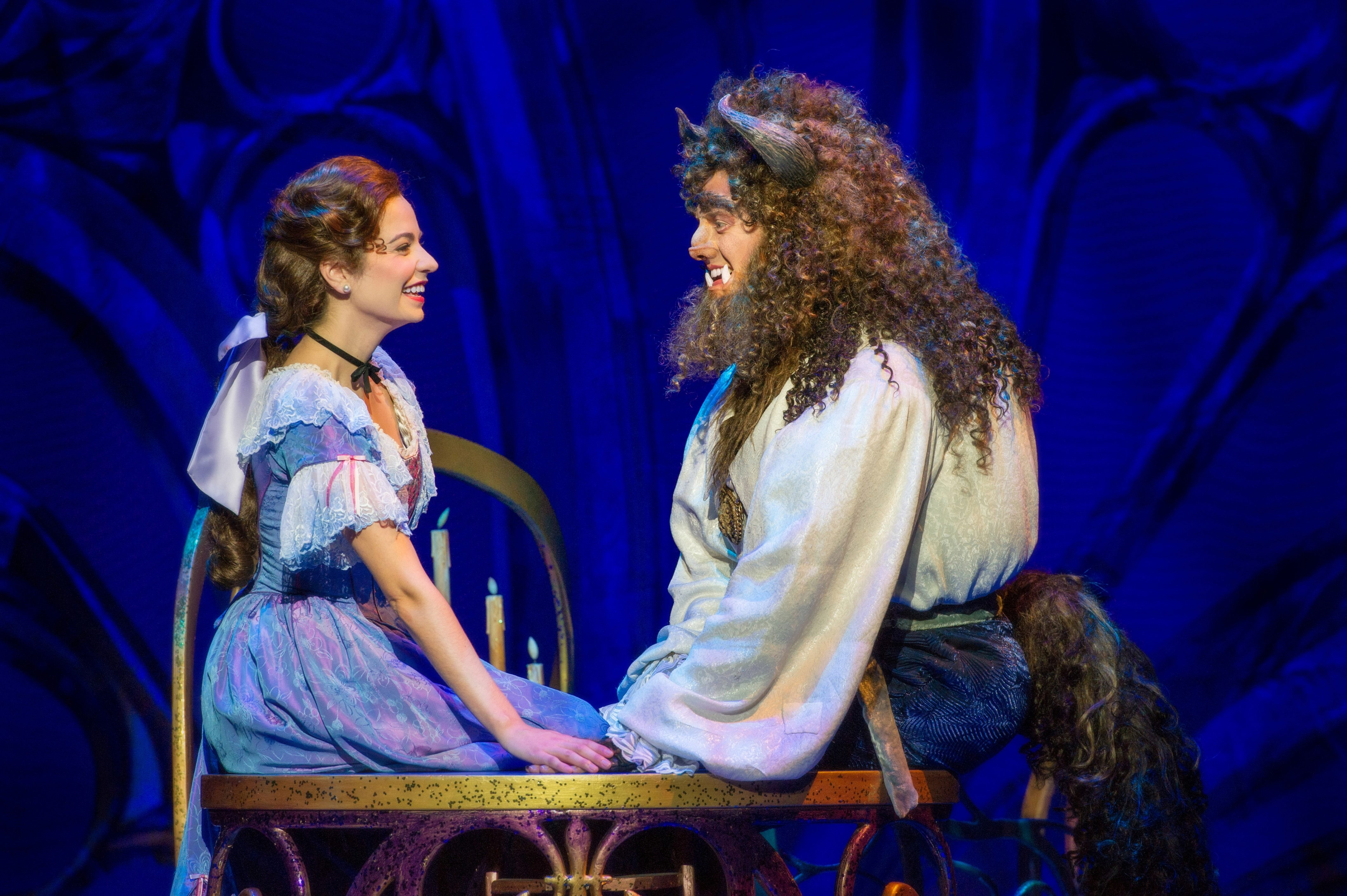 "Darick Pead as Beast and Hilary Maiberger as Belle star in Disney's ""Beauty and the Beast,"" on stage at Shea's through Sunday."