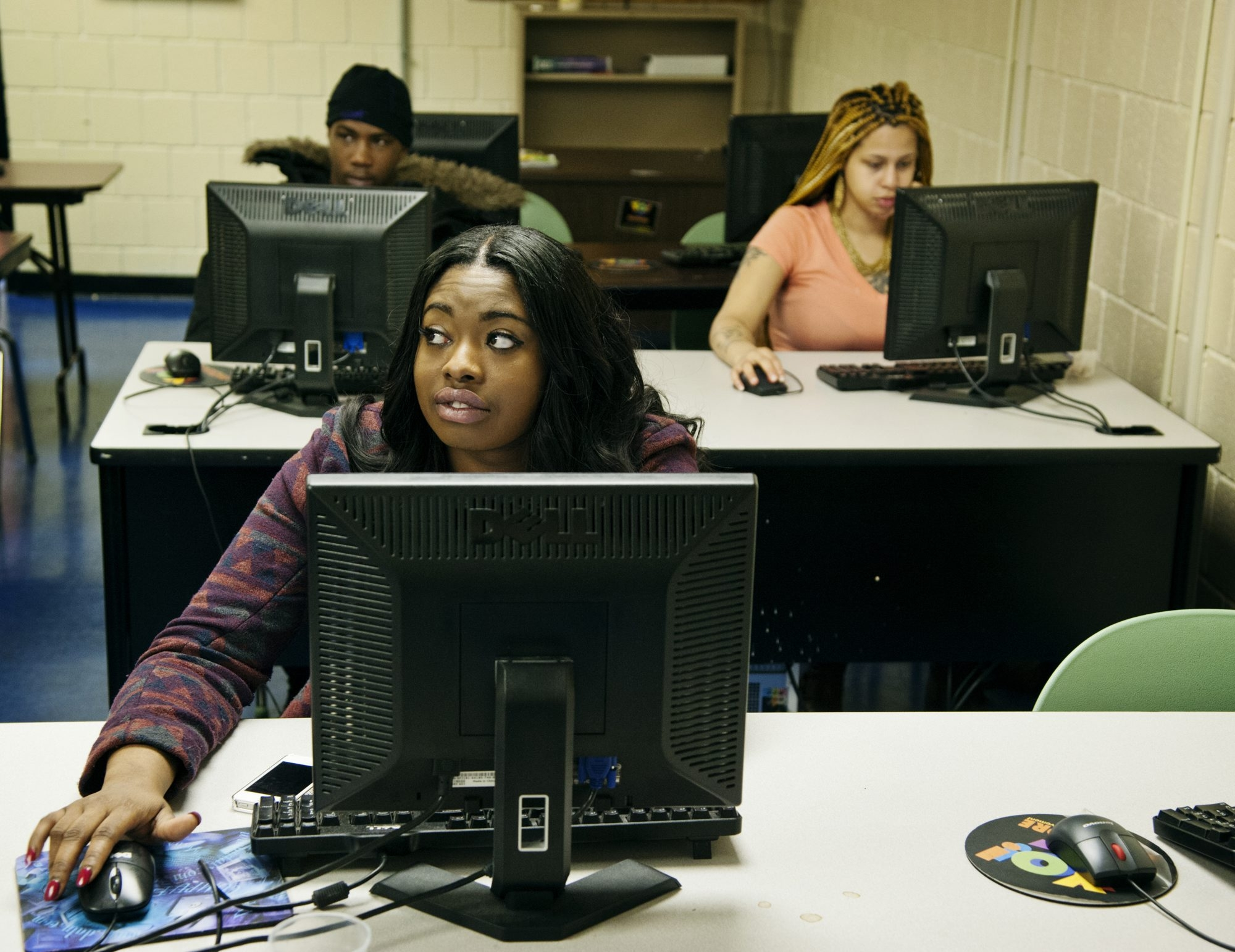 "With her job search not getting her interviews or return calls from employers, Simone Knighten, 20, sought help at a Youth Opportunity Center in Baltimore. ""That'­s why I came here. Because obviously I felt like I wasn'­t doing something right,"" she says."