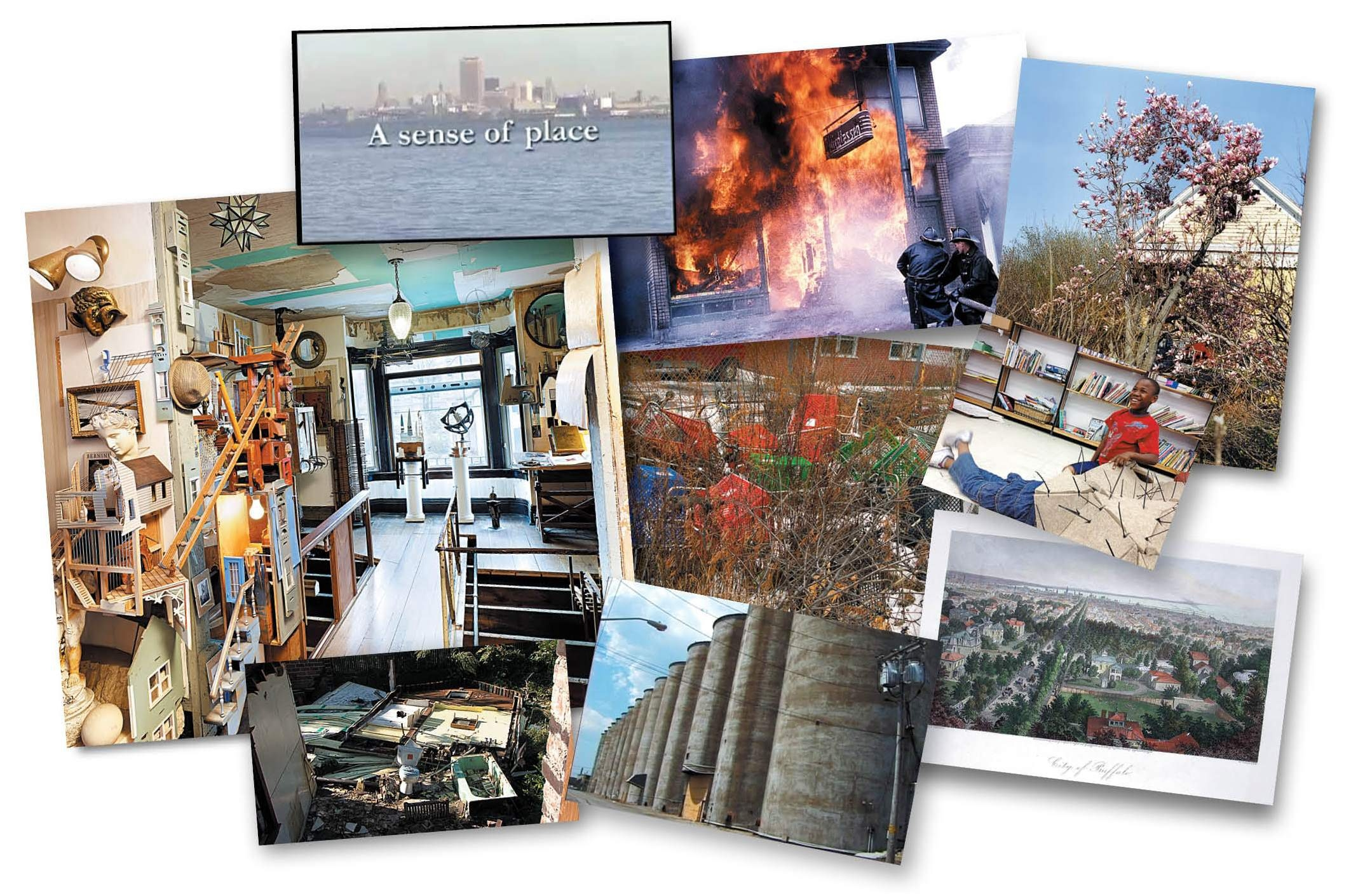 "Projects by Buffalo-based artists and activists, including architect Dennis Maher's sculpture-filled Fargo House, J-M Reed's photographs of Buffalo fires and Julian Montague's chroncile of stray shopping carts, appear in ""Ineffably Urban: Imagining Buffalo."" The book, according to editor Miriam Paeslack, is a collection of viewpoints that counter ""the tired tropes of the city between glory and demise."""