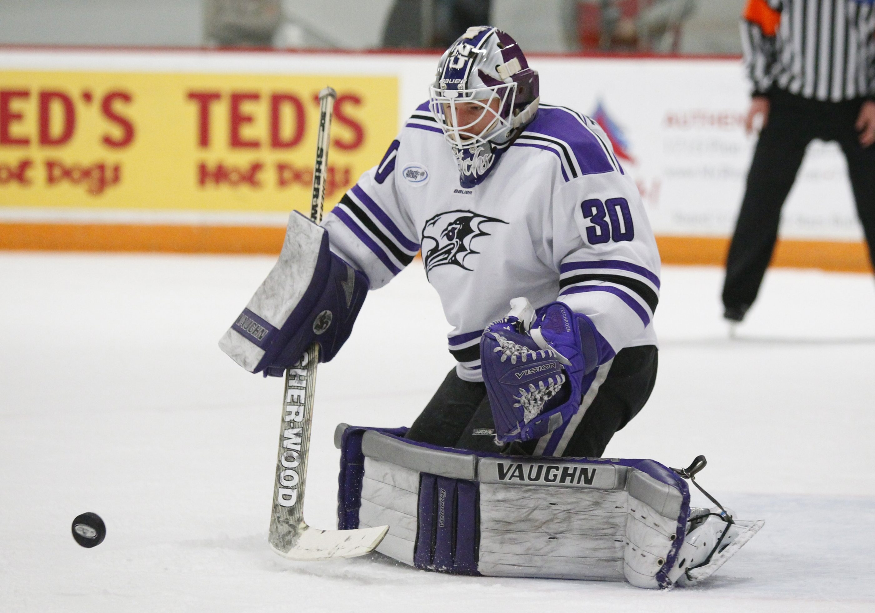 Niagara goaltender Jackson Teichroeb makes a save against a  Canisius player in a game on Feb. 6.