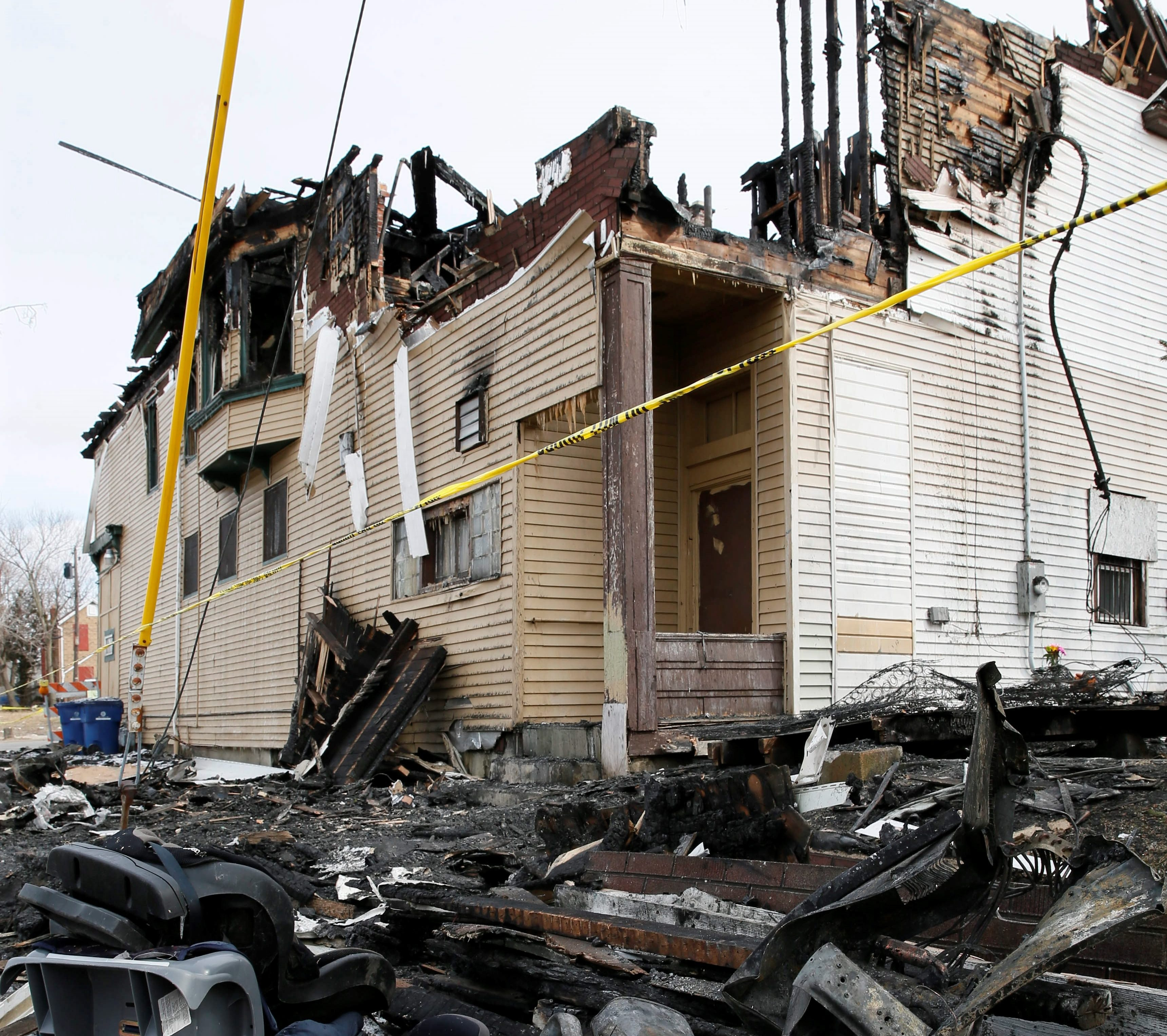 The scene of the fire on Fillmore and Woeppel that claimed the life of a 7-year-old boy March 24.