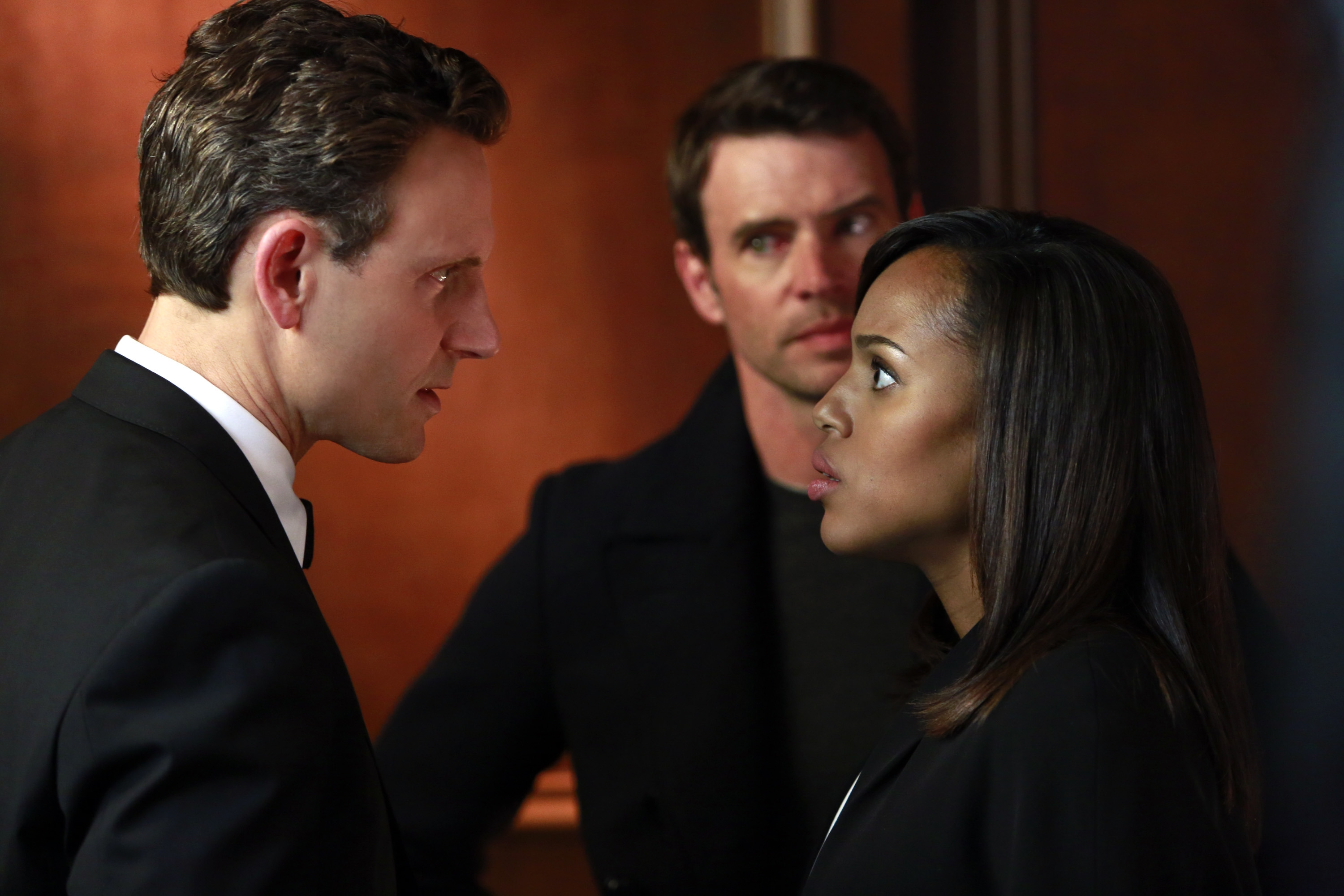 """ABC's """"Scandal,"""" starring, from left, Tony Goldwyn, Scott Foley and Kerry Washington is more popular than """"Parenthood"""" but less grounded."""