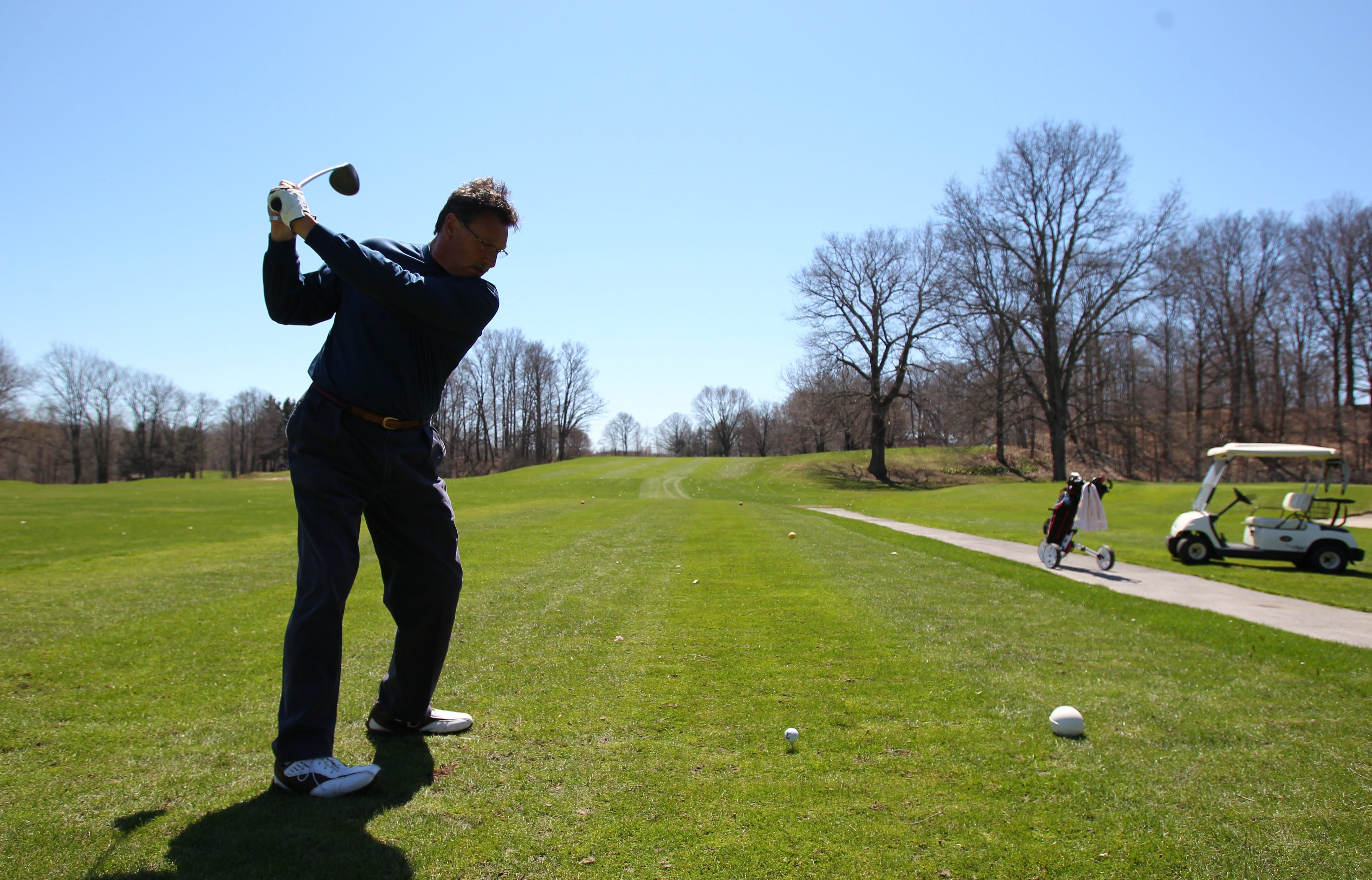Ron Croce, of Depew, gets ready to hit his tee shot on the 11th hole at Elma Meadows Golf Course on Thursday.