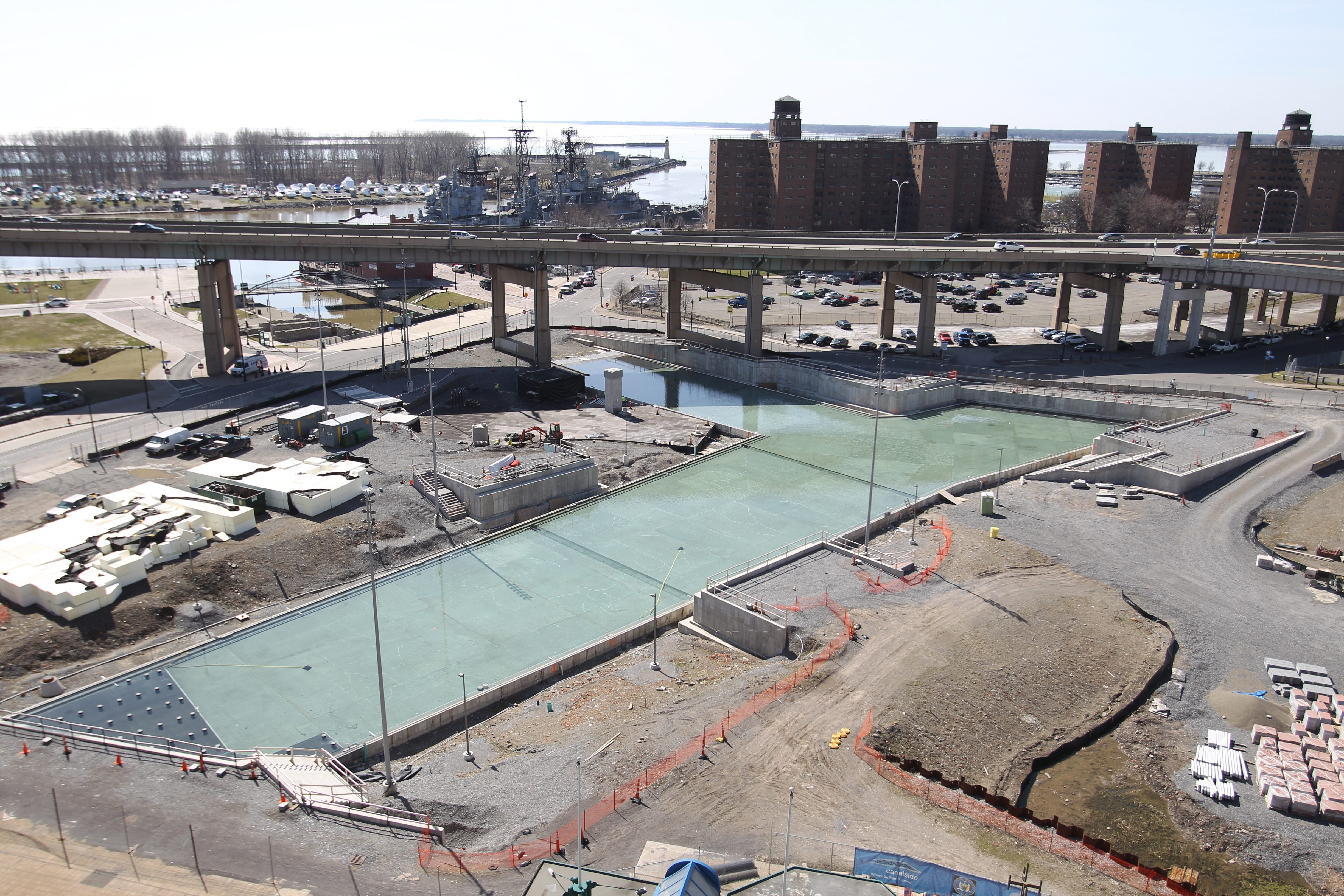 The replica canals on Buffalo's waterfront were filled with water last week for testing.