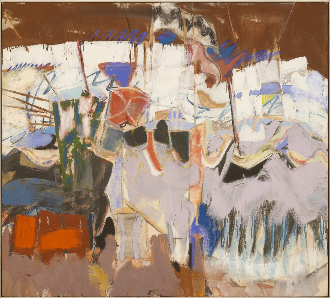 "Michael Goldberg's 1966 oil painting ""The Rout of San Romano"" is on view in the University at Buffalo's Anderson Gallery's exhibition ""On the Road and in the Book"" opening Saturday."