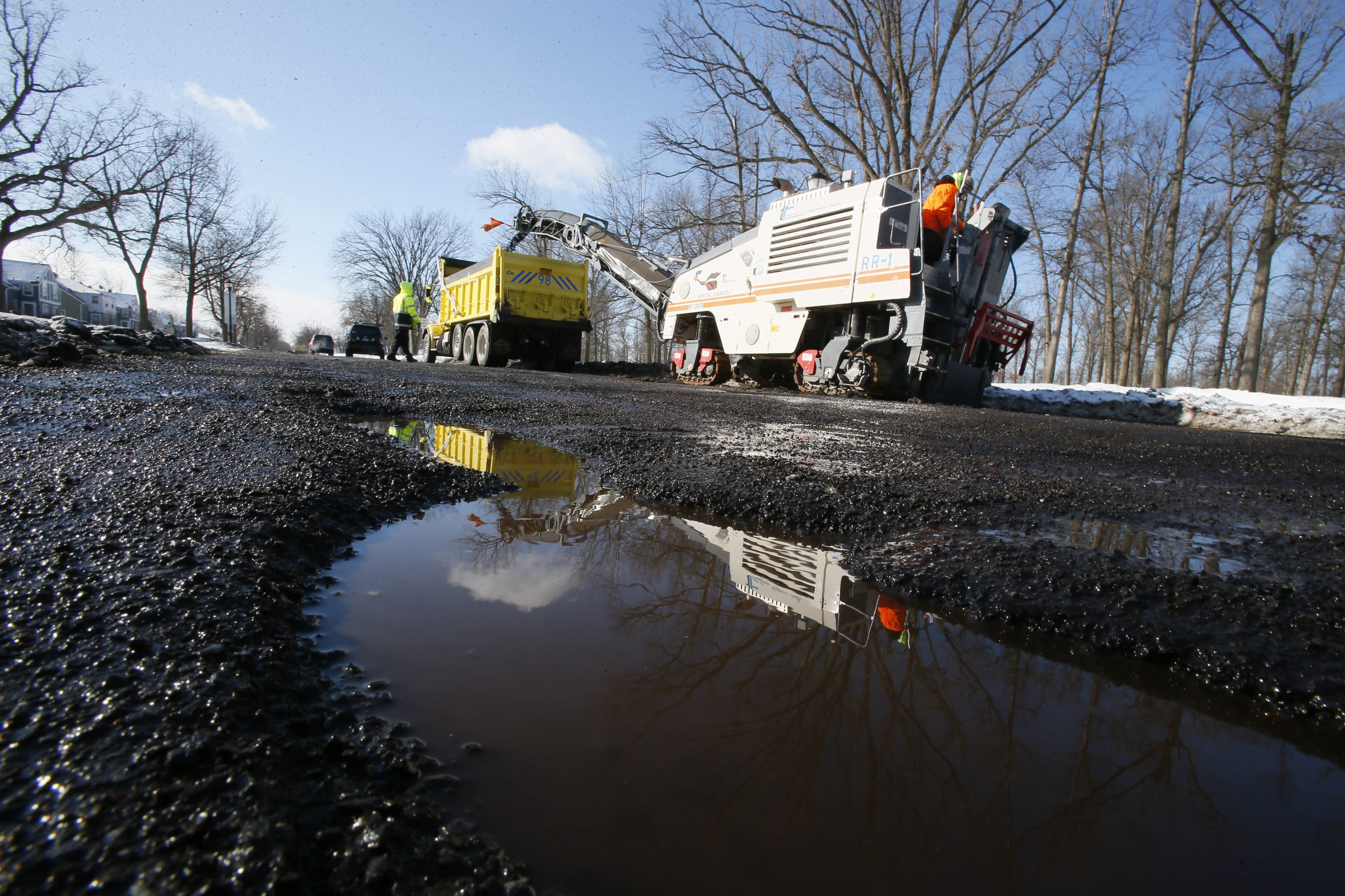 Scenes like this – a Town of Tonawanda crew working on Parkhurst Boulevard – will soon become commonplace in Western New York.