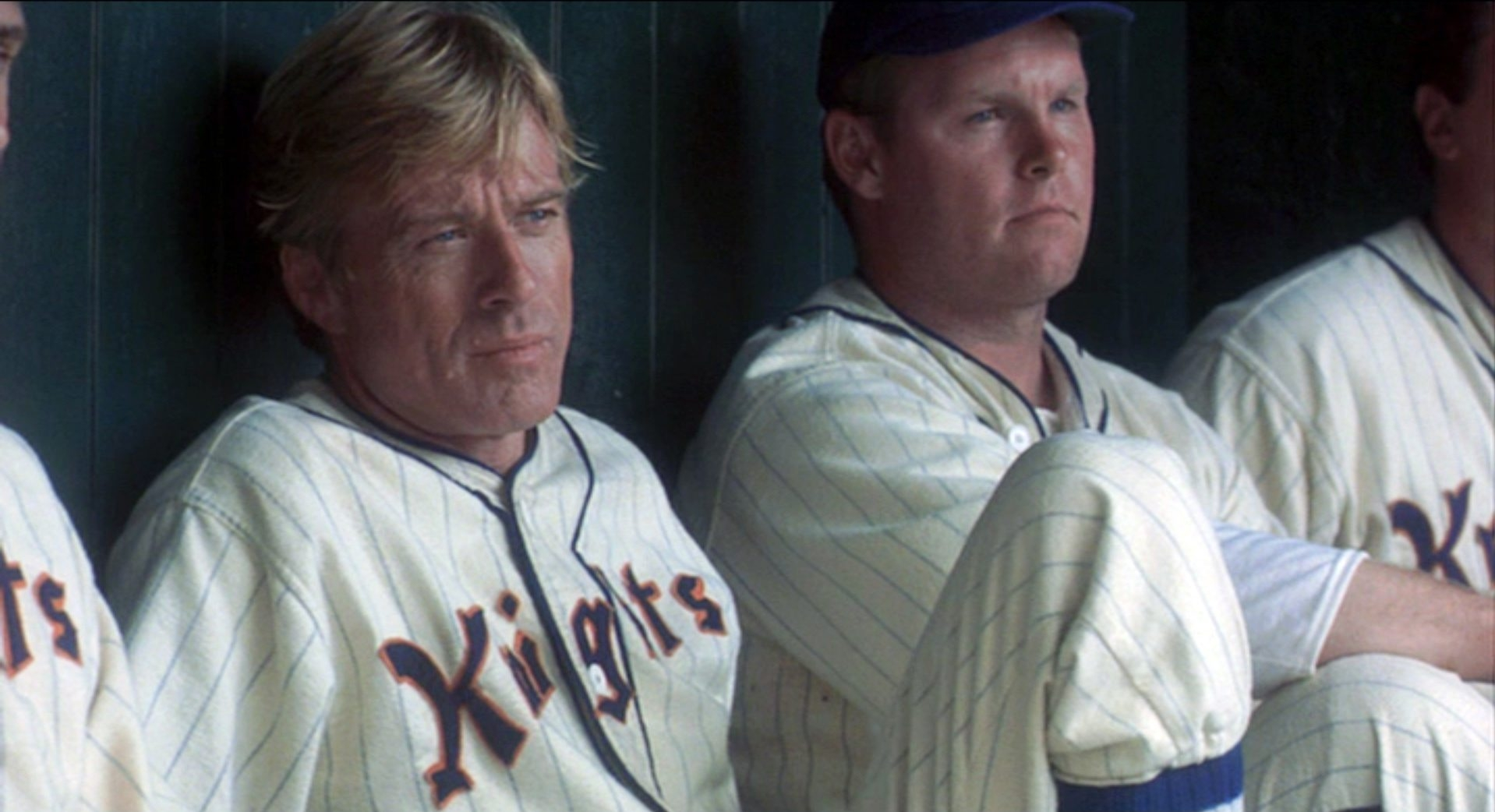 Robert Redford and Duke McGuire (left) in The Natural.