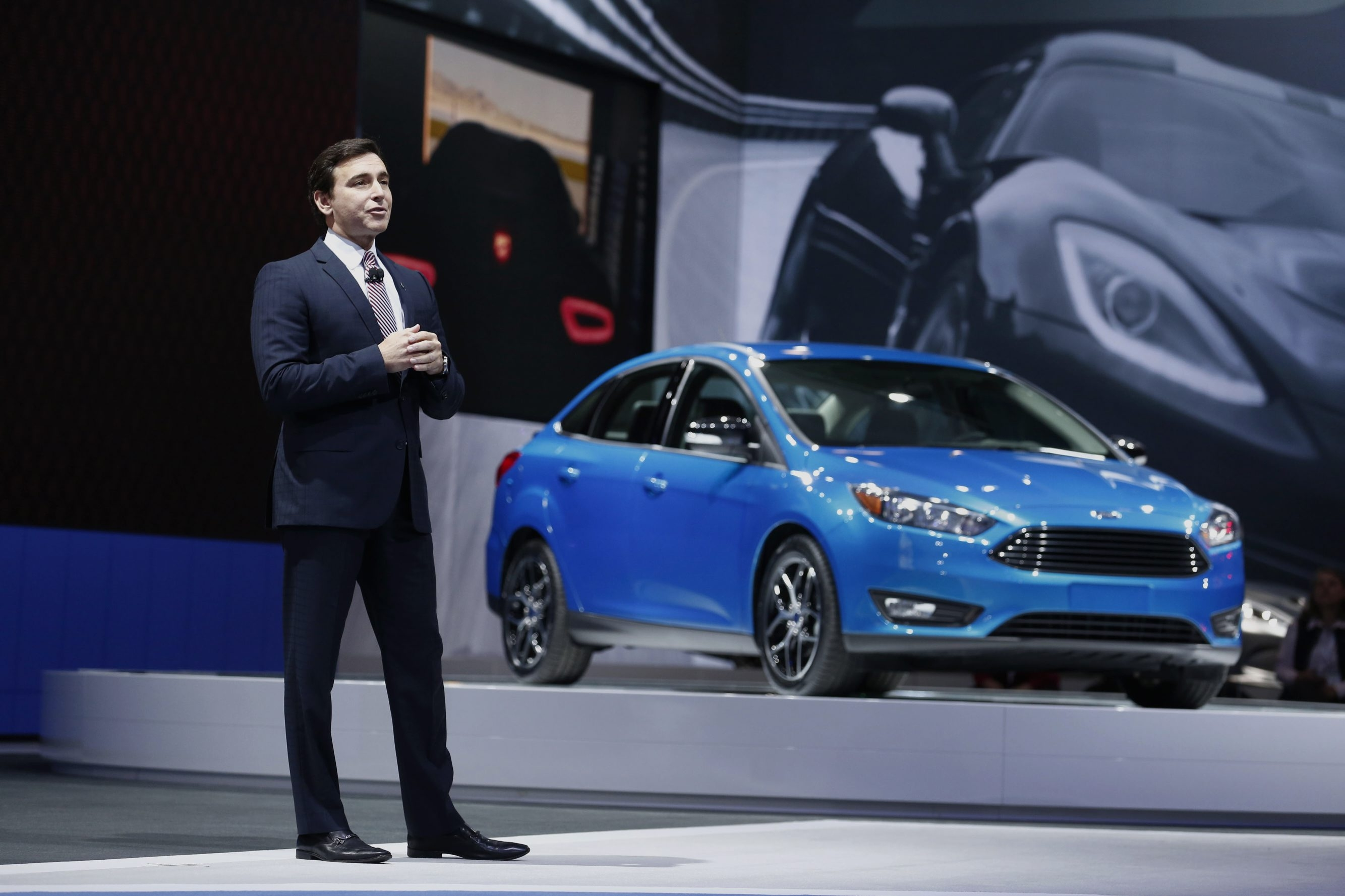 Mark Fields, chief operating officer of Ford Motor Co., speaks during the unveiling of limited edition Mustang GT at the 2014 New York Auto Show in New York last week. Ford is expected to announce Fields' promotion to CEO, replacing Alan Mulally.