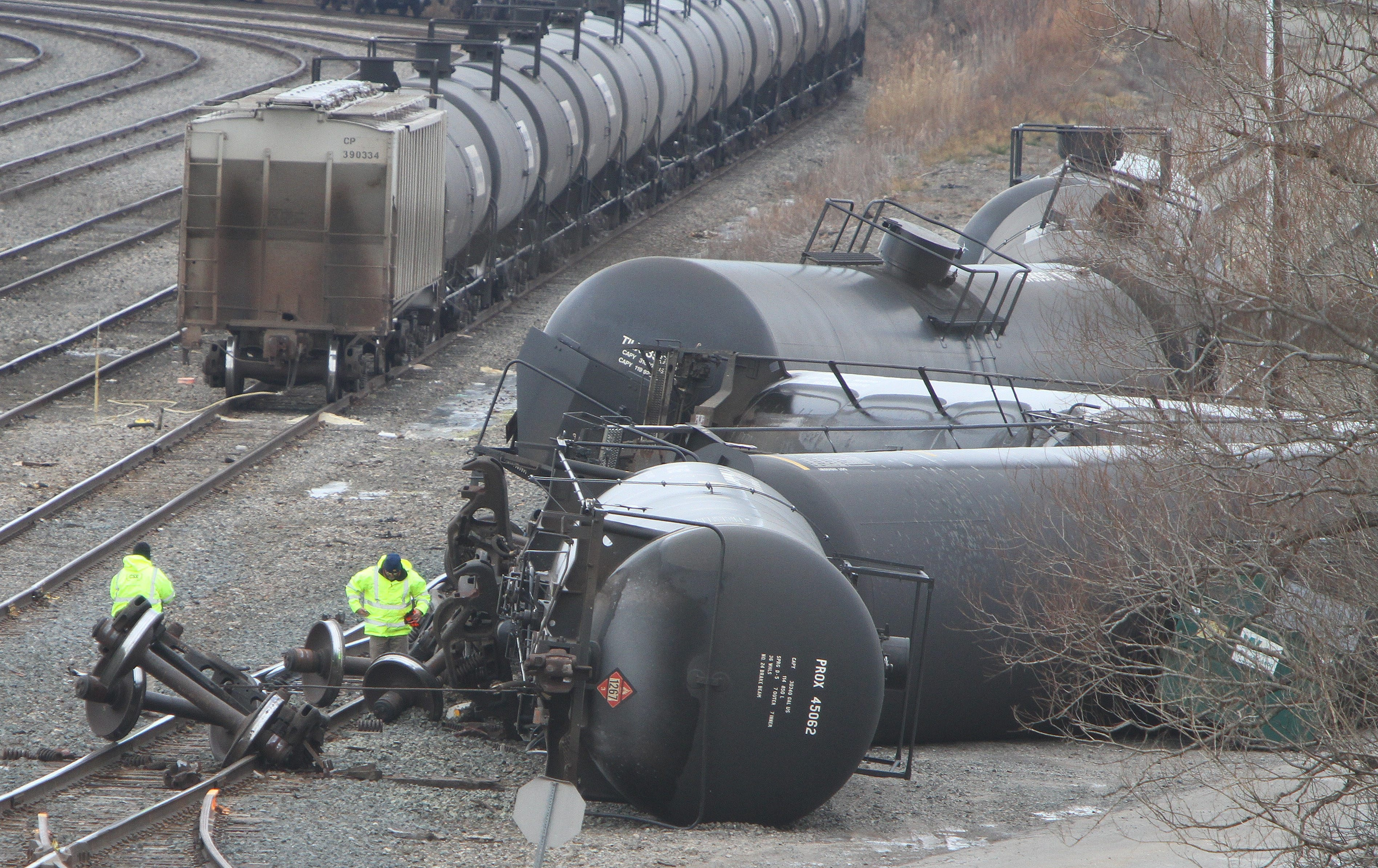Crews work on some overturned tanker cars in the CSX yard in Cheektowaga in this 2013 photo.