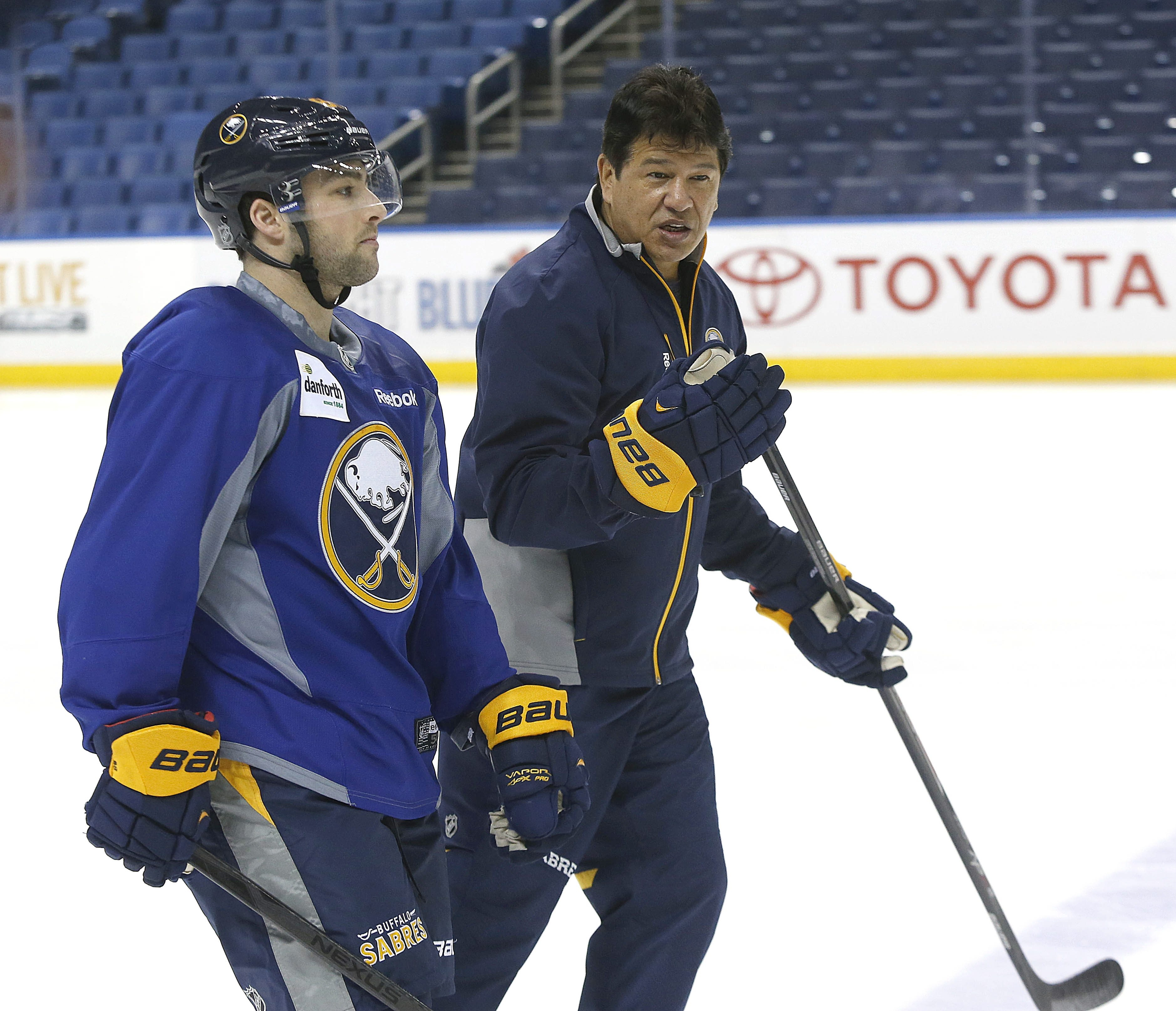 Cory Conacher, left, will look to impress Sabres head coach Ted Nolan in the coming season.
