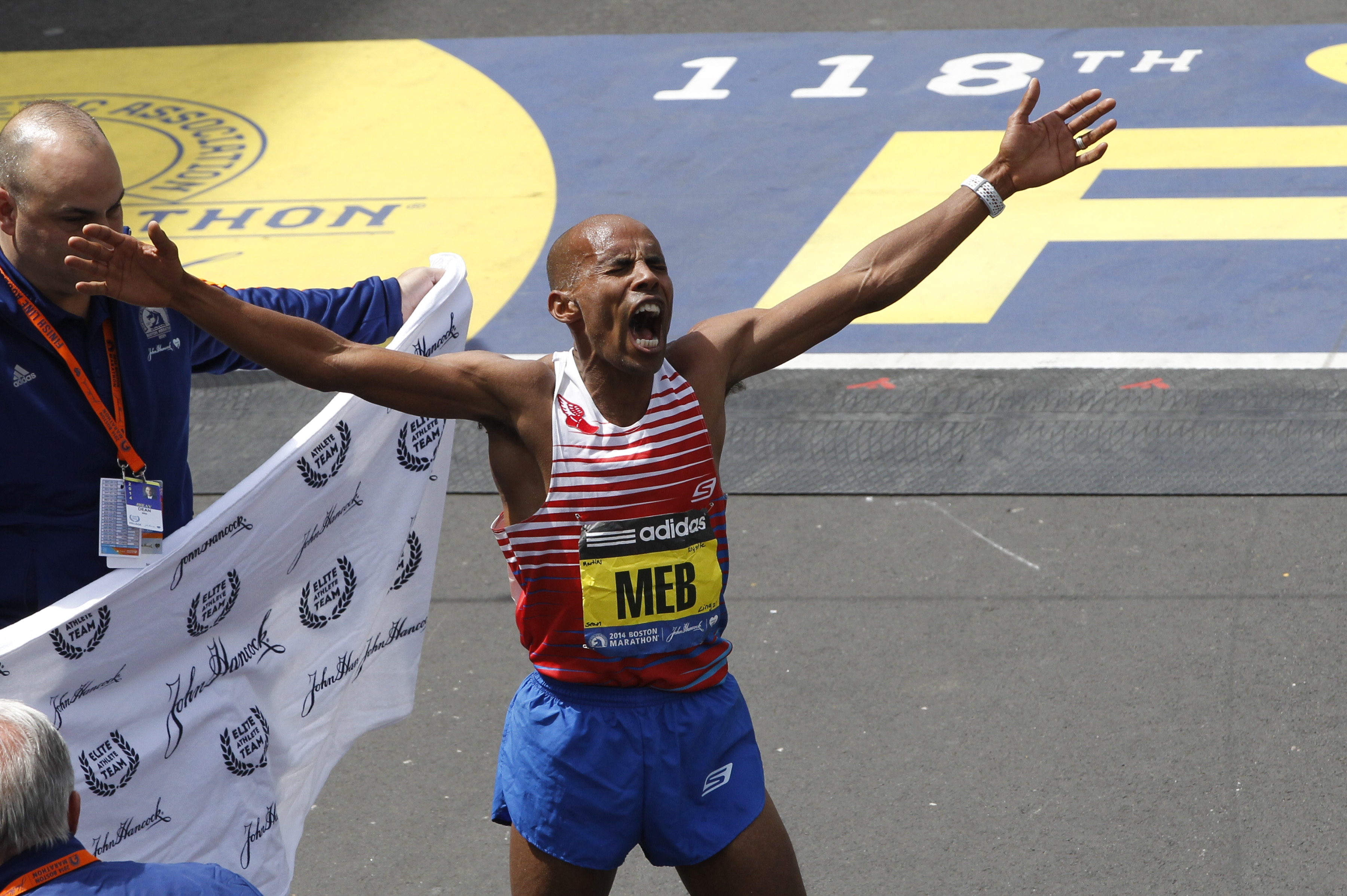 Meb Keflezighi of the U.S. reacts after he won the men's race of the Boston Marathon on Monday. Keflezighi became the first American man to win the marathon in more than 30 years.