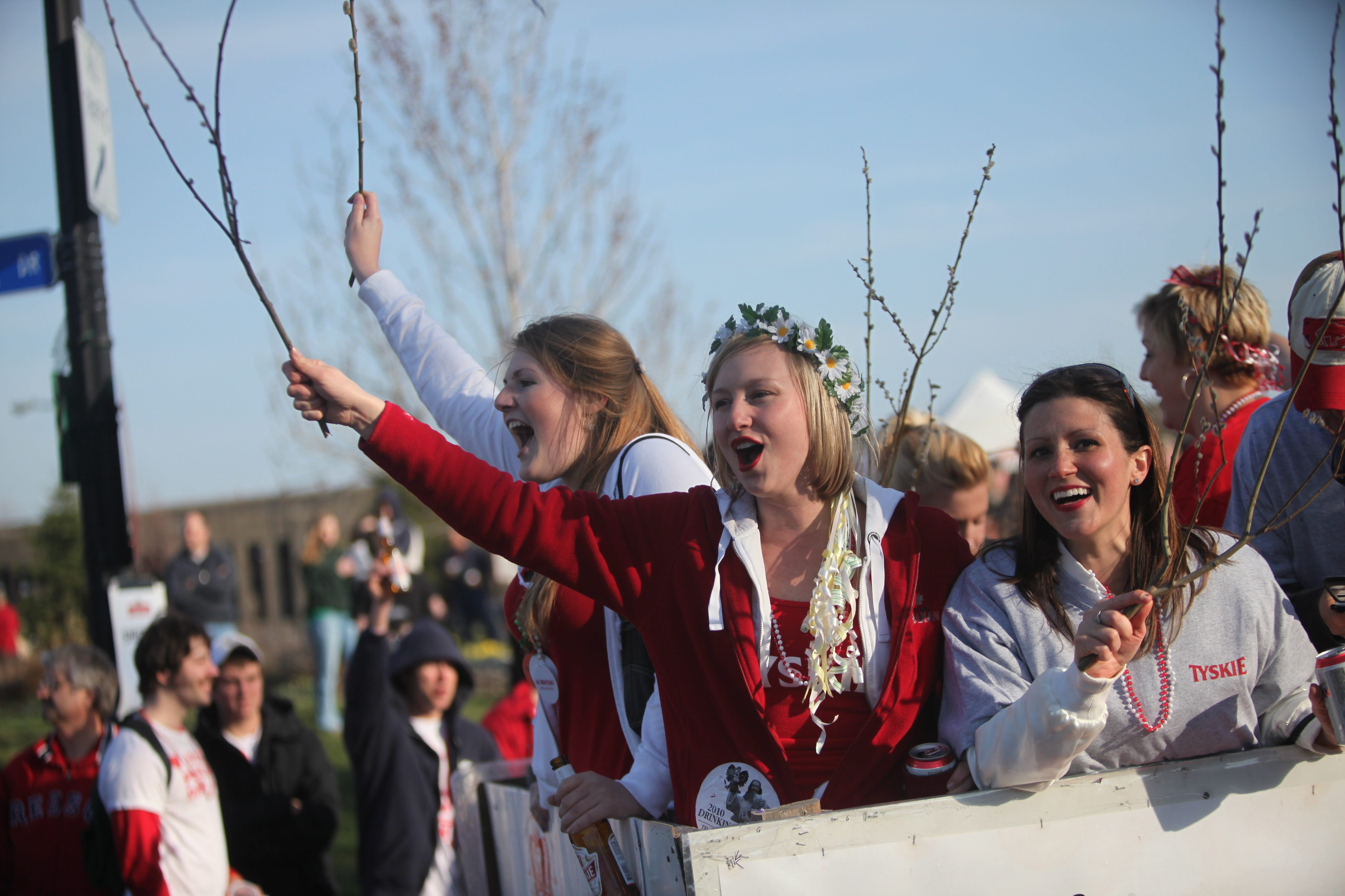Young women wielding pussy willows ride the Buffalo Barfly.com float during the 2010 Dyngus Day Parade in Buffalo. This year's celebration of all things Polish promises to be bigger than ever.