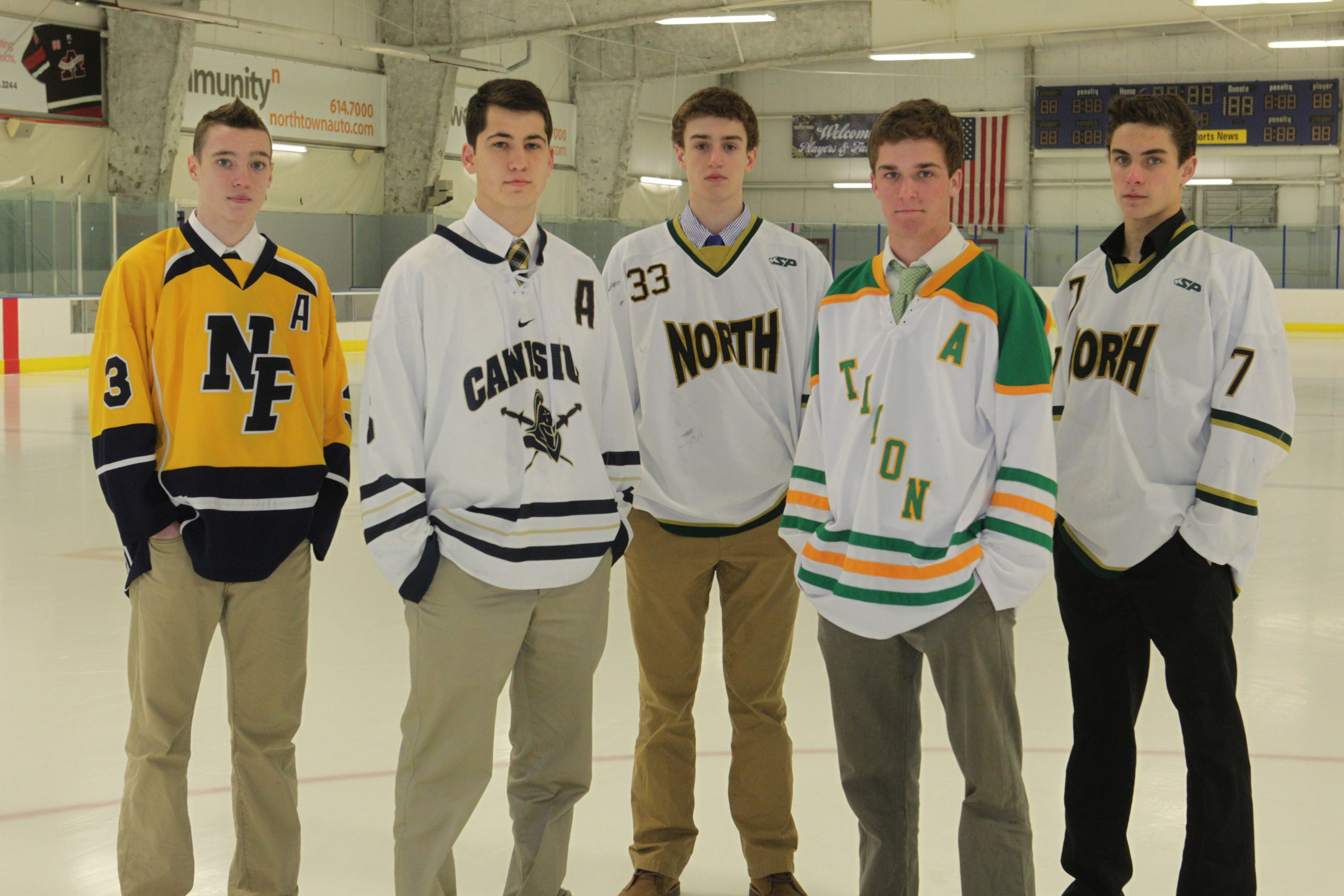 All- WNY boys Federation hockey All-Stars were chosen. For the large school division from left are, Alex Hailey, center for Niagara Falls, Steven Skinner, defenseman for Canisius, Matthew Ladd, goalie for Williamsville North, Connor Fields, center for Timon St. Jude and Bryce Ferrell, winger for Williamsville North. Photo taken, Monday, March 24, 2014.  (Photo by Sharon Cantillon/Buffalo News)