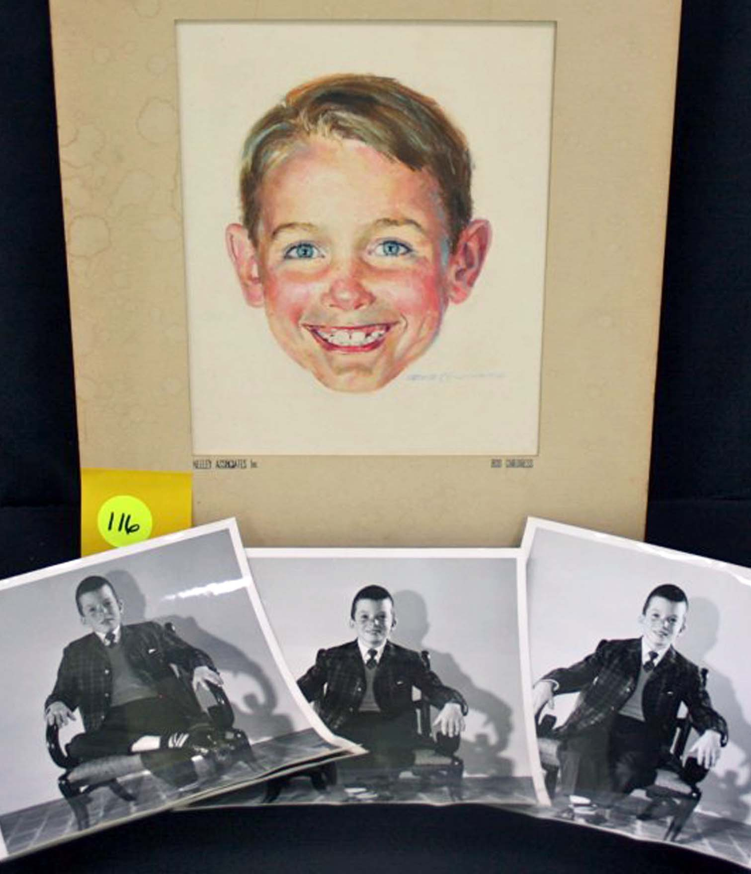 "This photo shows a watercolor by Robert Childress and photos of the model used to paint it. The portrait is of Dick from the ""Dick and Jane"" series of books."
