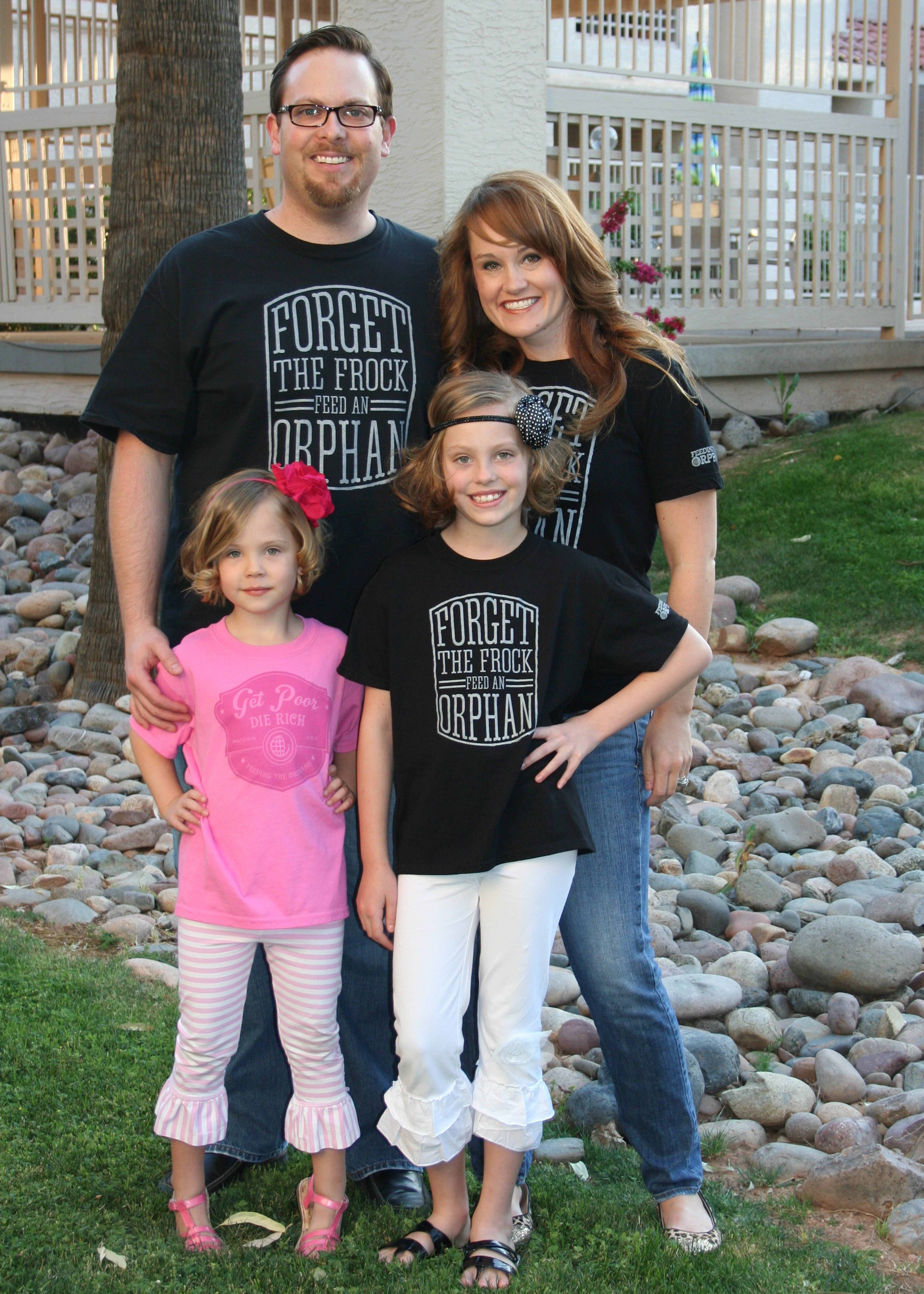 Emily Fox, shown with her family at left, created Forget the Frock, an organization that promotes giving on behalf of orphans and other underprivileged individuals. At right is the Sexton family, supporters of movement.