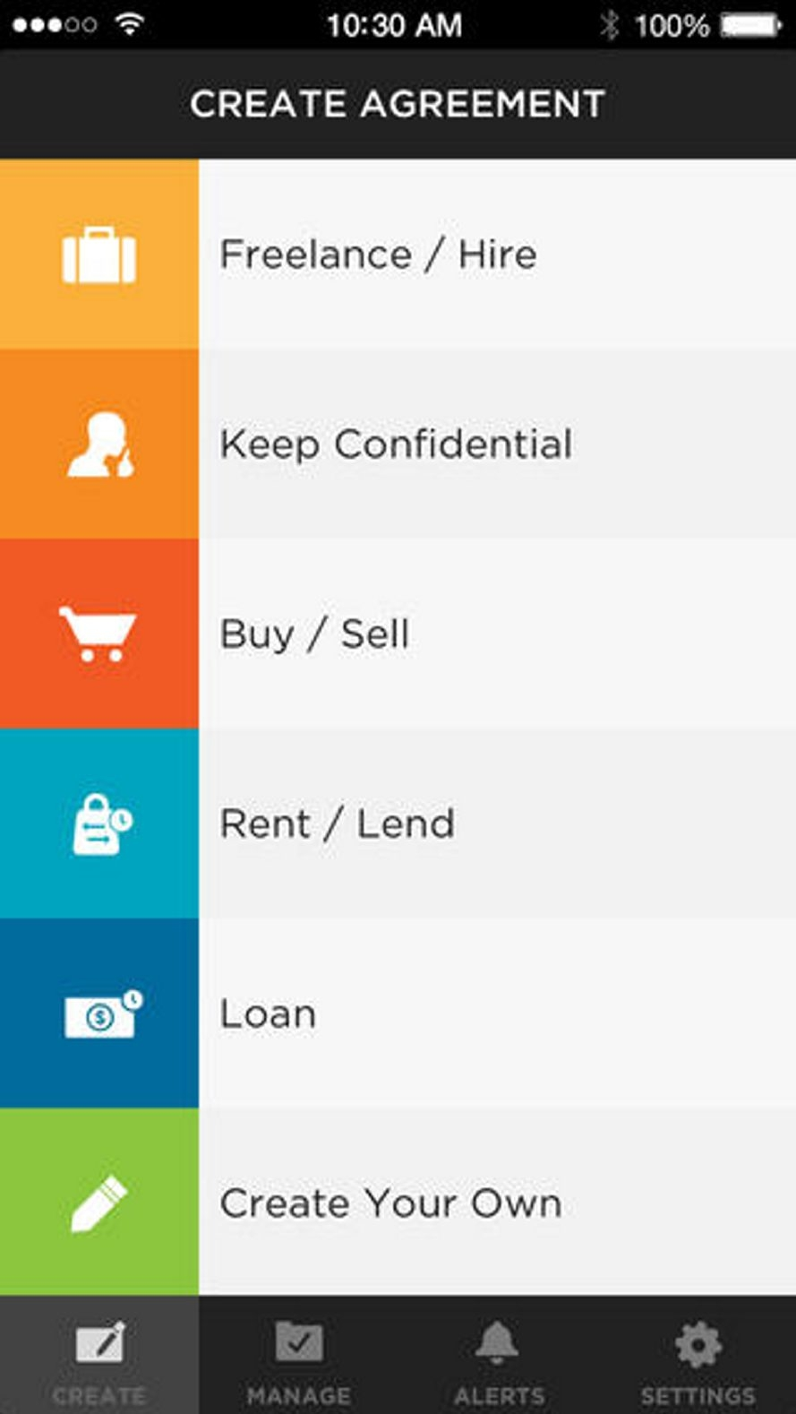 The Shake app launched in September with options to create six kinds of contracts, including freelancing, renting, lending money and a write-it-yourself feature.