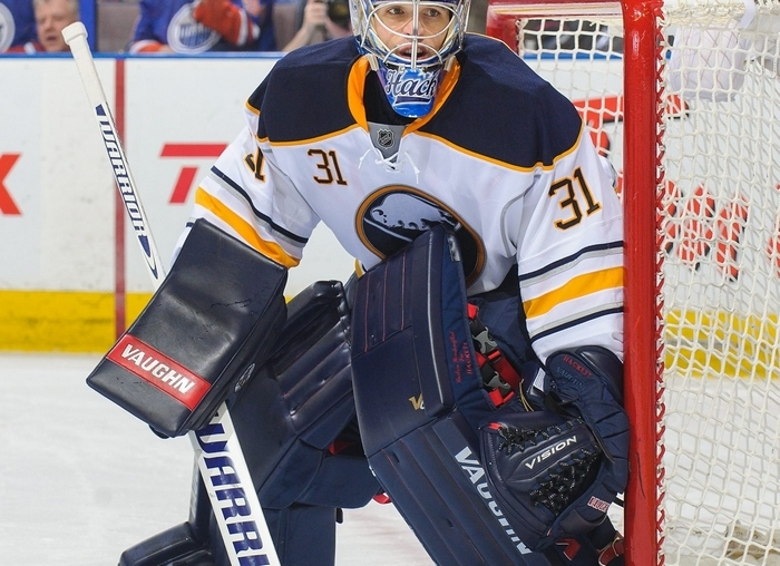 Matt Hackett is expected to start tonight's game against Montreal for the Sabres. He won his first game as a Sabre last week in Edmonton and is one of four goalies who have started games for Buffalo since Ryan Miller was traded to St. Louis. Sabres goalies have a .934 save percentage combined since the Miller deal but the Sabres have scored just 20 goals in those 12 games. (Photo by Derek Leung/Getty Images)