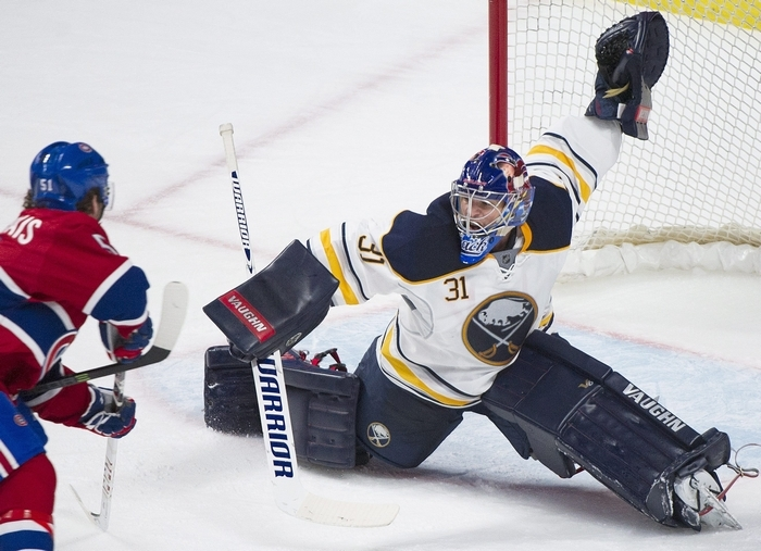 Matt Hackett has stopped 68 of 71 shots in his first two games with the Buffalo Sabres, going 1-1-0 in those starts. (Associated Press)