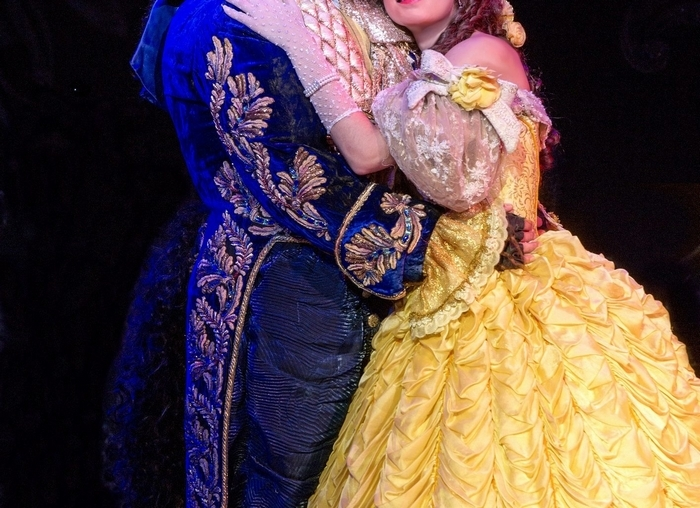 """Darick Pead as Beast and Hilary Maiberger as Belle in Disney's """"Beauty and the Beast."""" Photo by Amy Boyle."""