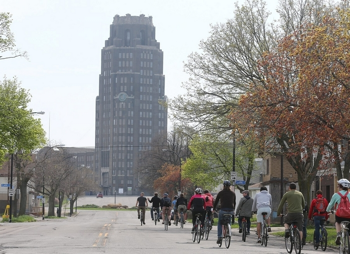 Riders approach their next stop, the Central Terminal, during the 'Tour de Neglect' on Saturday. (Charles Lewis/Buffalo News)