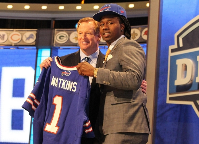 Sammy Watkins, a wide receiver out of Clemson who grew up rooting for the Bills, stands with Commissioner Roger Goodell after Buffalo made him the fourth pick in the draft. (James P. McCoy/ Buffalo News)
