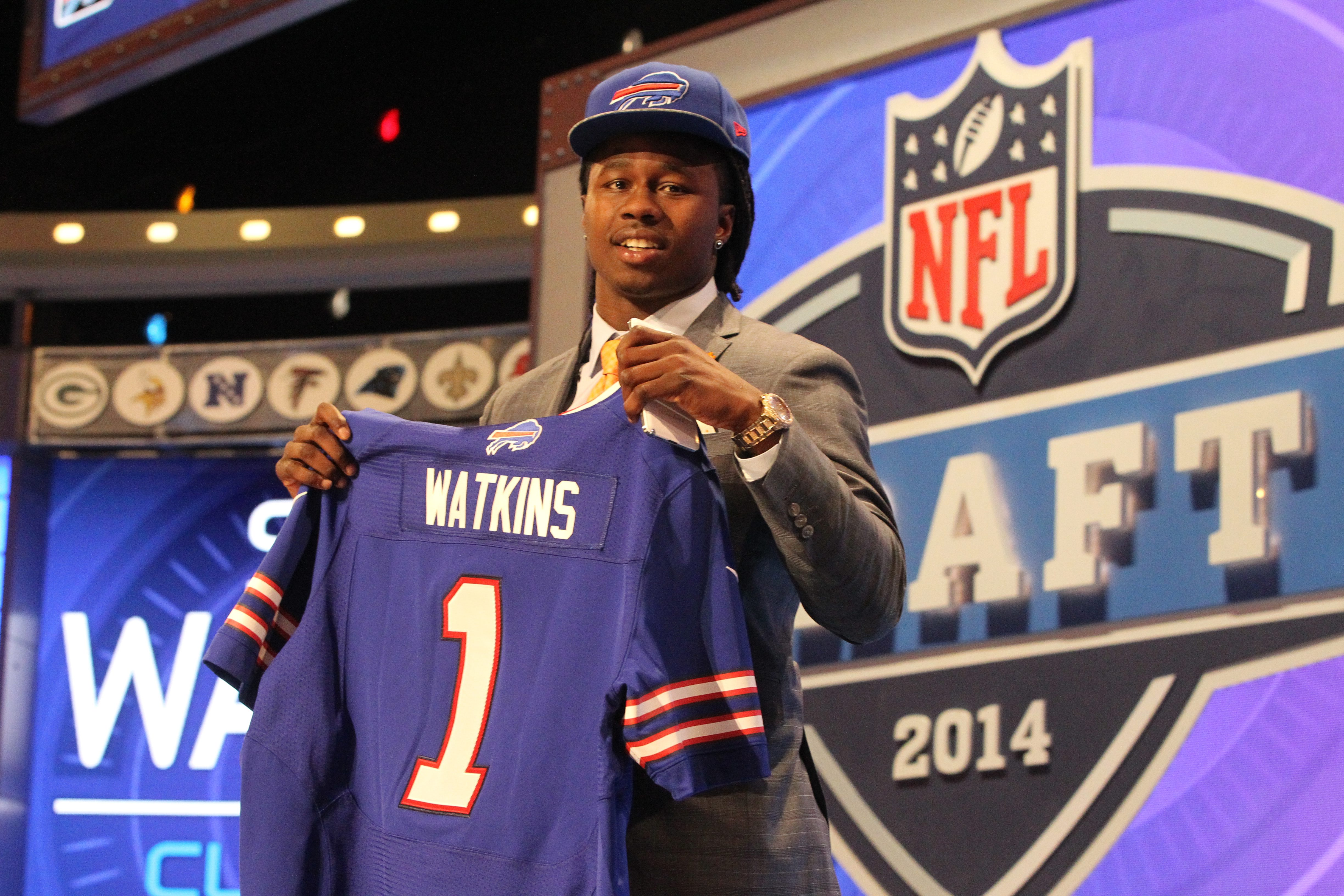 Bills draft pick Sammy Watkins holds up a jersey at Radio City Music Hall in New York City. (James P. McCoy/Buffalo News)