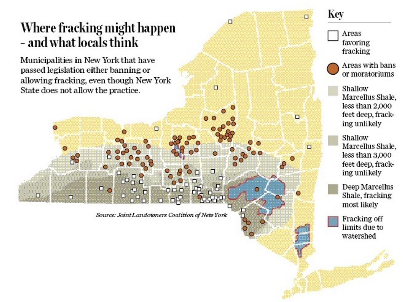 Map shows municipalities that have passed legislation either banning or allowing fracking along with areas of deep Marcellus Shale that are most likely to be of interest for fracking.