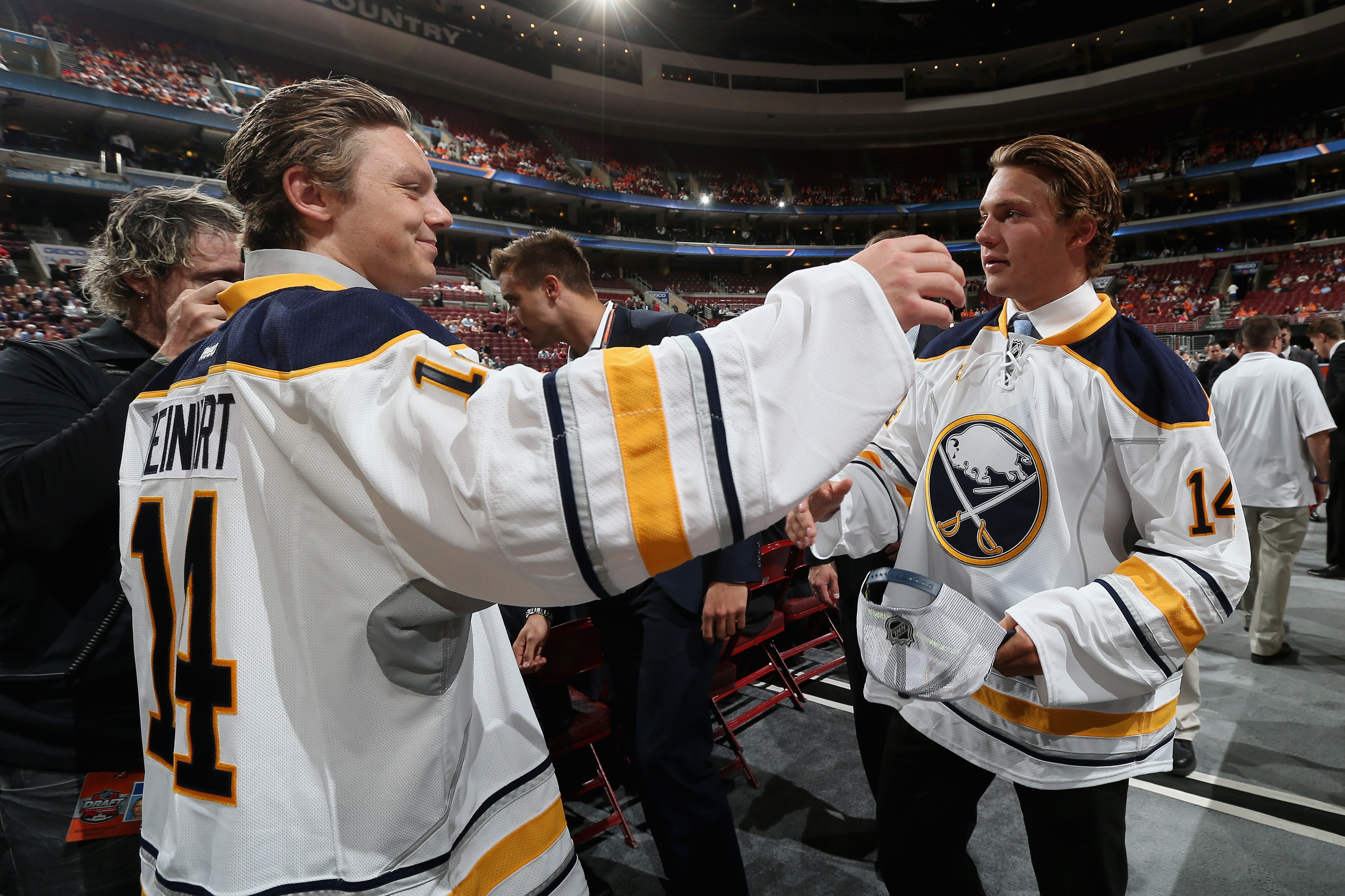Sam Reinhart, the second pick overall, meets with Brendan Lemieux, who was selected at No. 31 by the Sabres to open the second day of the NHL Draft in Philadelphia.