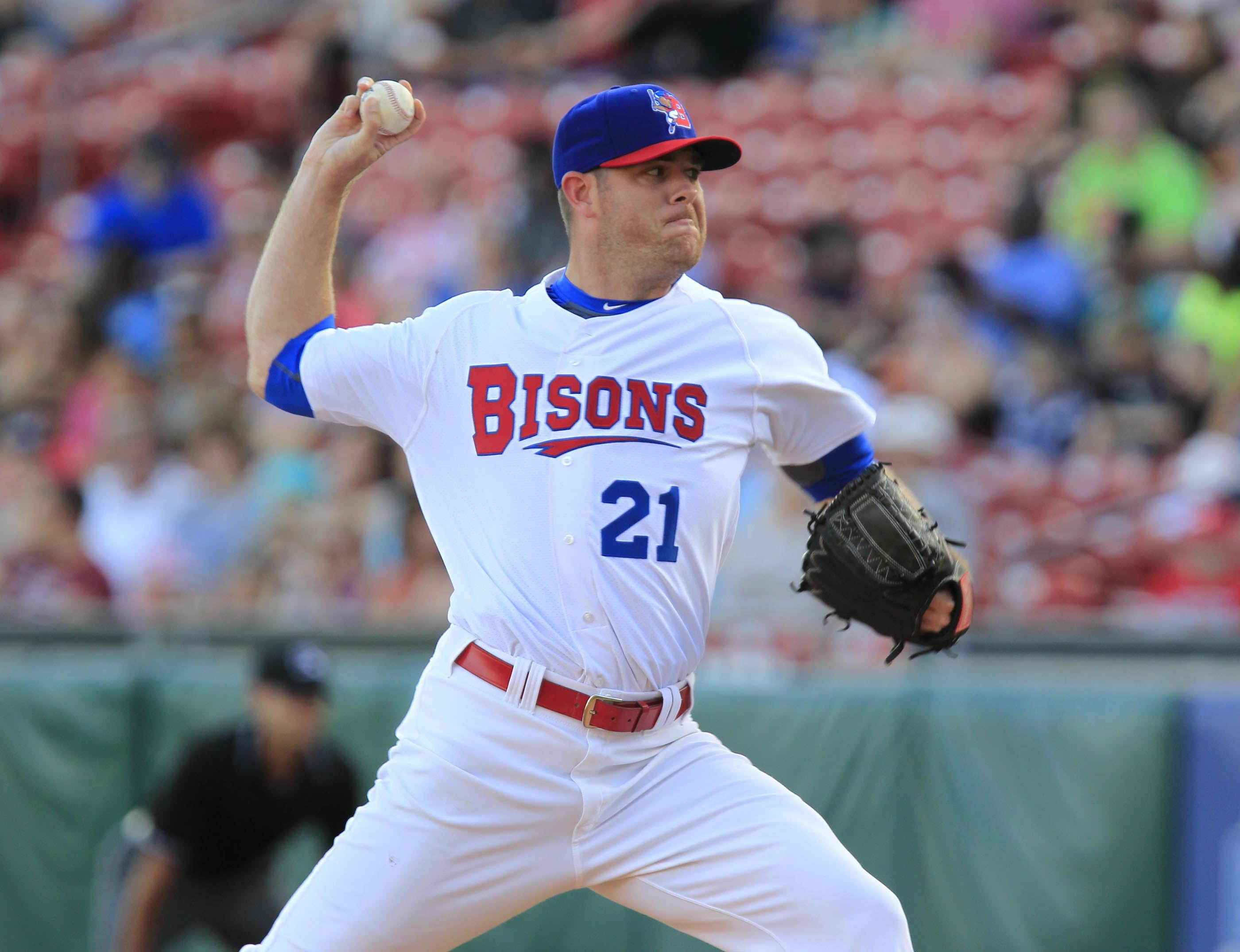 2 line cut Buffalo Bison P.J. Walters during  first inning action against the Columbus Clippers at Coca-Cola Field on Friday, June 27, 2014. ()