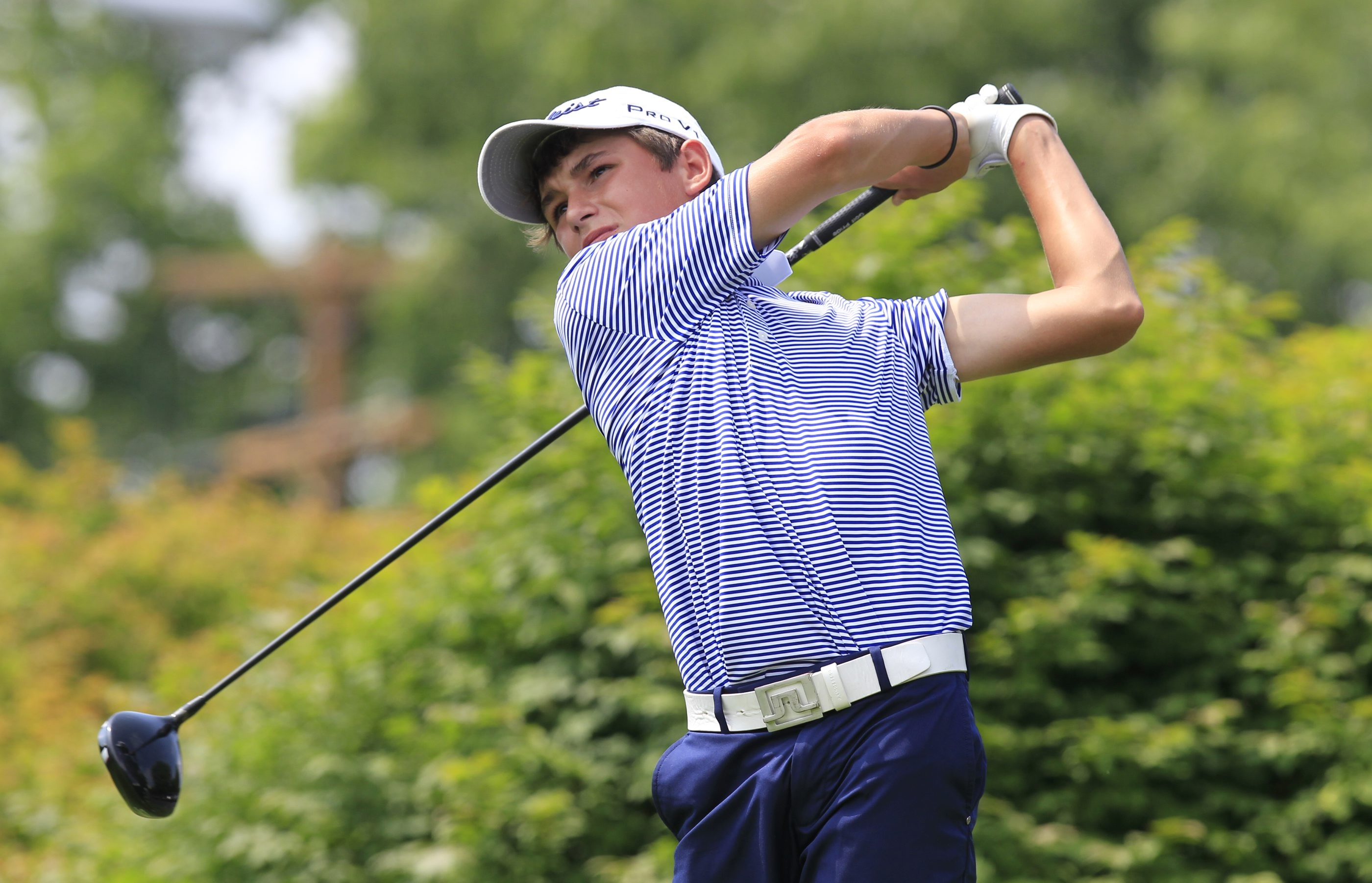 Will Thomson of Pittsford came from three down to win his first match in the International Junior Masters Tournament.