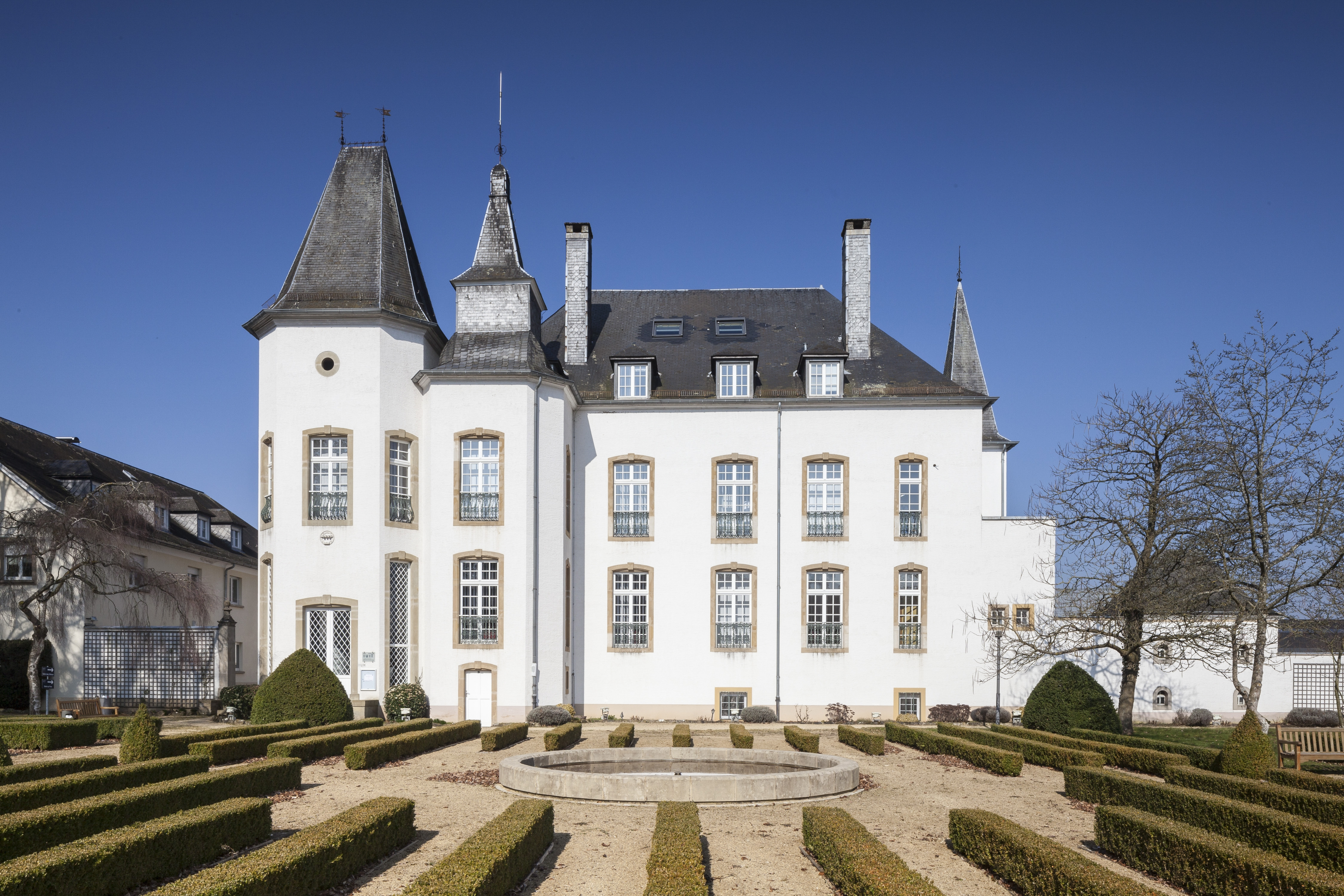 Munsbach Castle, built in 1775 and now home to a business college, is down the road from a six-bedroom villa on the market for $2.46 million in Luxembourg, which has a pricey housing market.