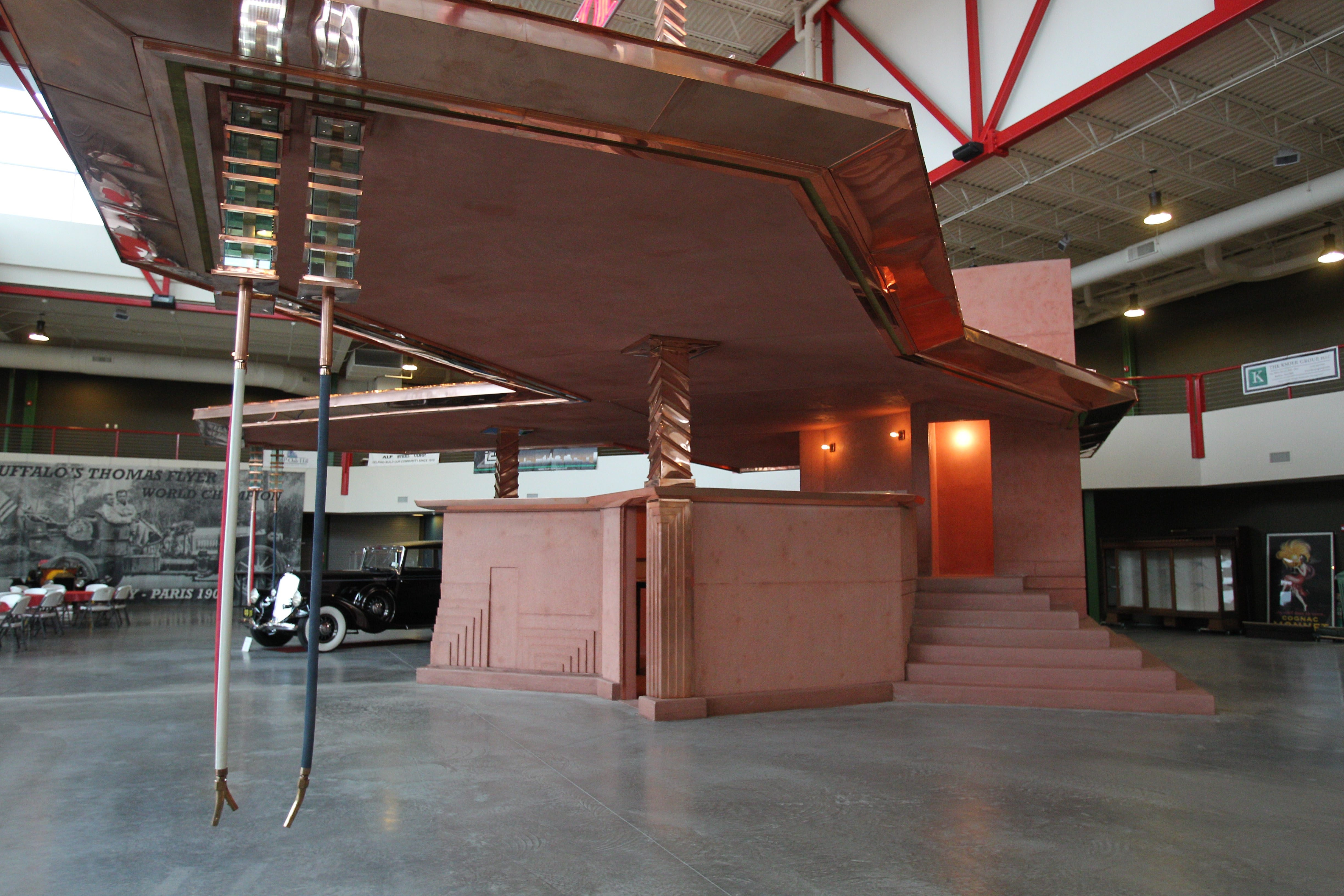 The Frank Lloyd Wright filling station that was planned for Michigan Avenue but never built has been constructed for the Buffalo Transportation Pierce-Arrow Museum. These are the gas pumps that Wright designed that operate on gravity rather than pumping the gas from tanks in the ground. The exhibit on the filling station will be open from 2 to 5 p.m. Friday.