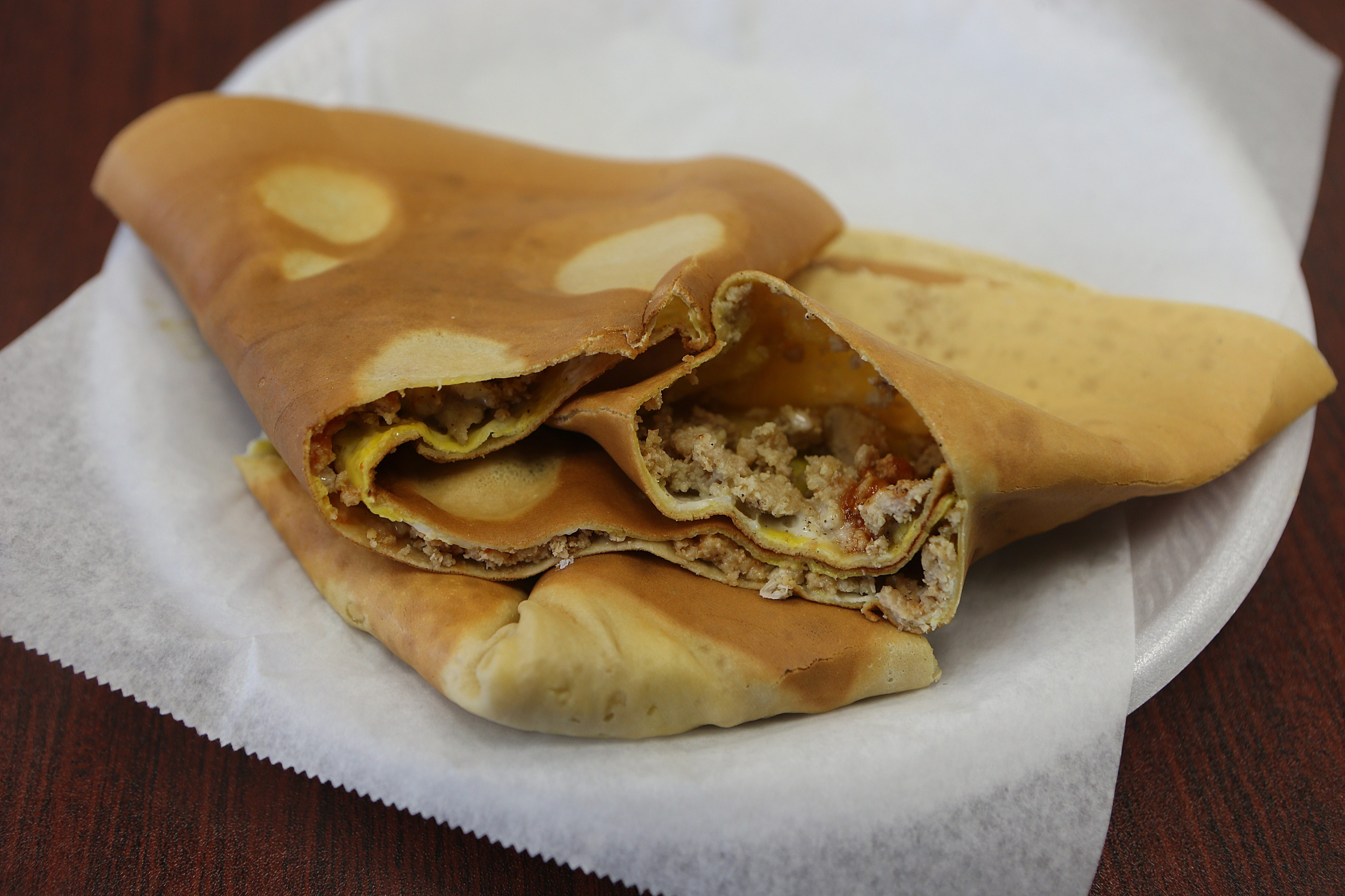 The crepe, filled with Indian-spiced ground chicken, is one of the international offerings at Mohammed Yaseen's Exotic Japanese Crepes.